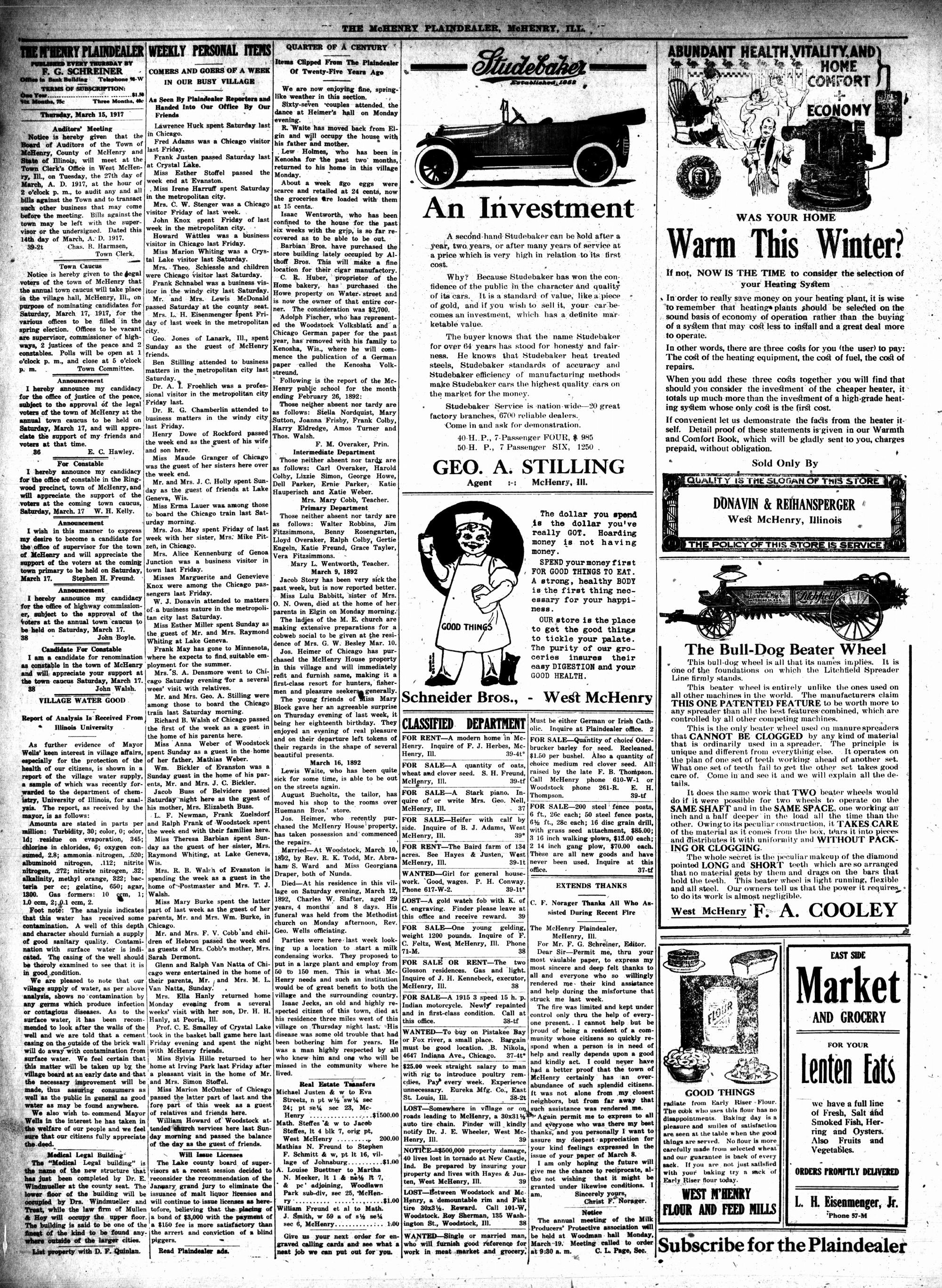 McHenry Plaindealer (McHenry, IL), 15 Mar 1917
