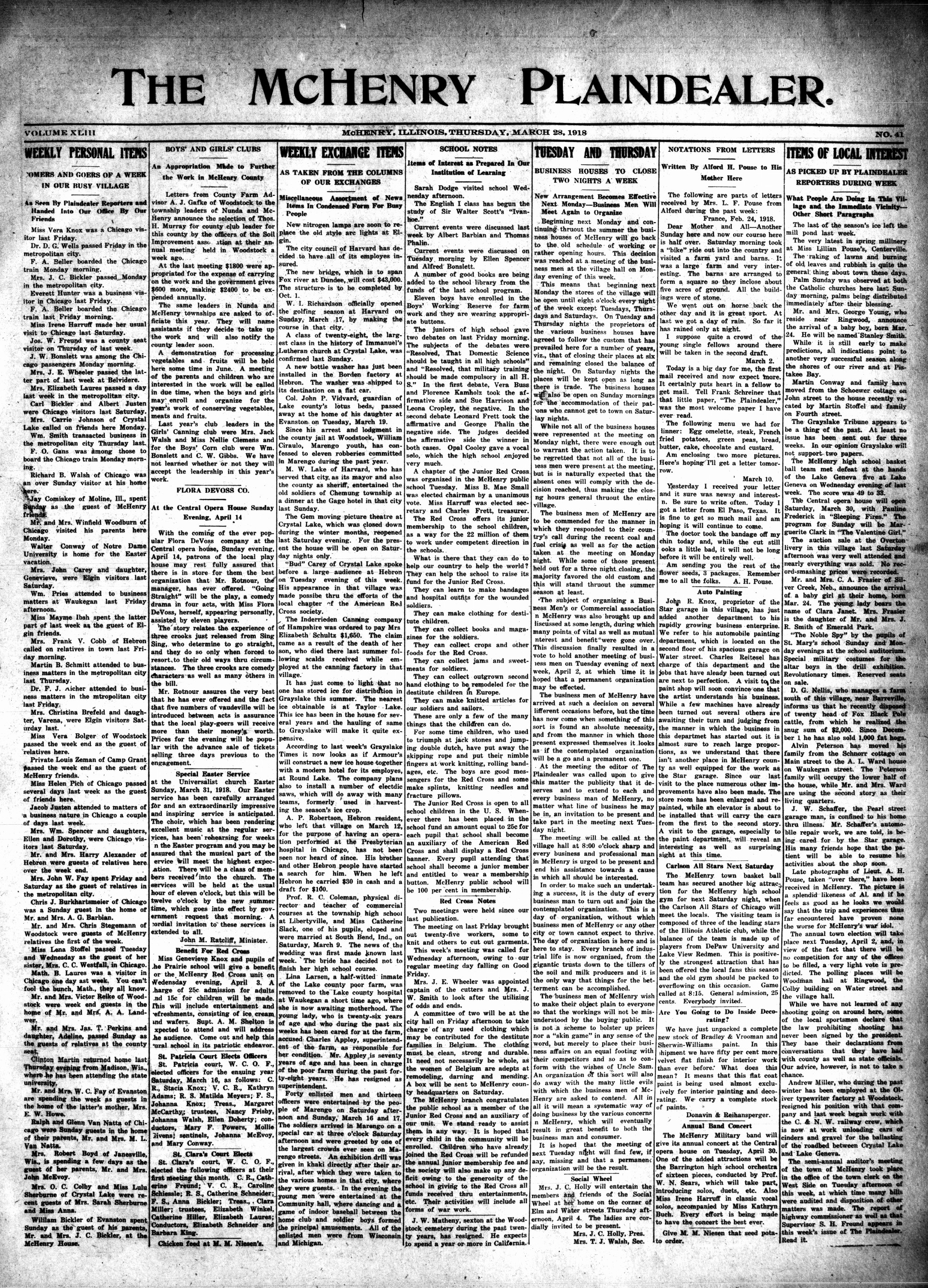 McHenry Plaindealer (McHenry, IL), 28 Mar 1918