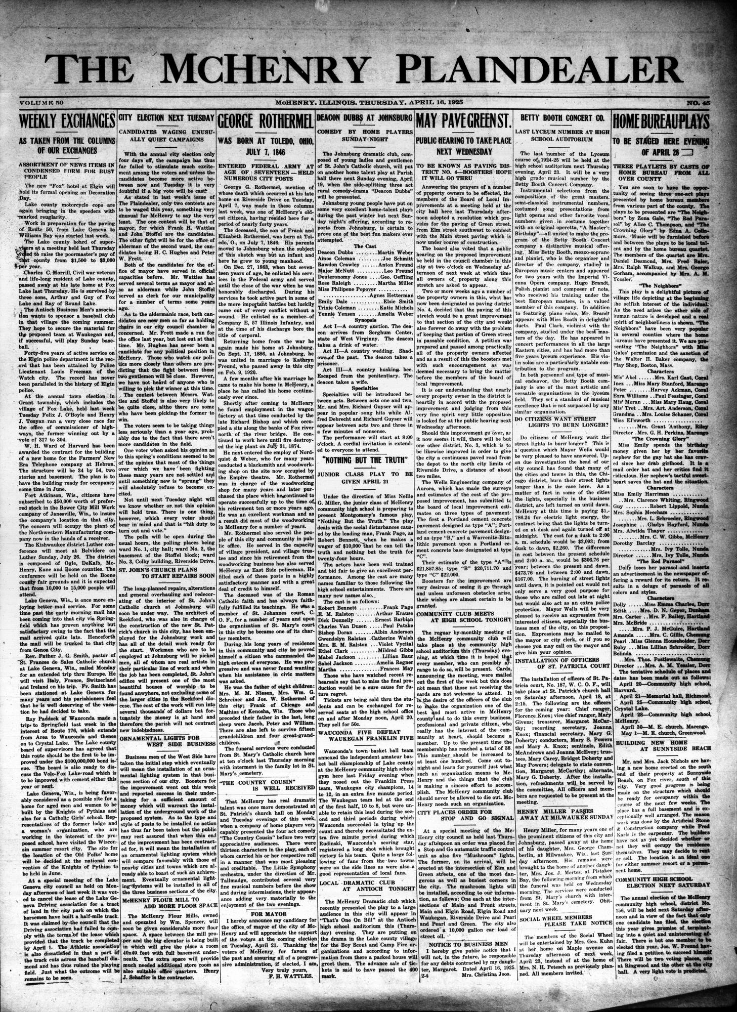 McHenry Plaindealer (McHenry, IL), 16 Apr 1925