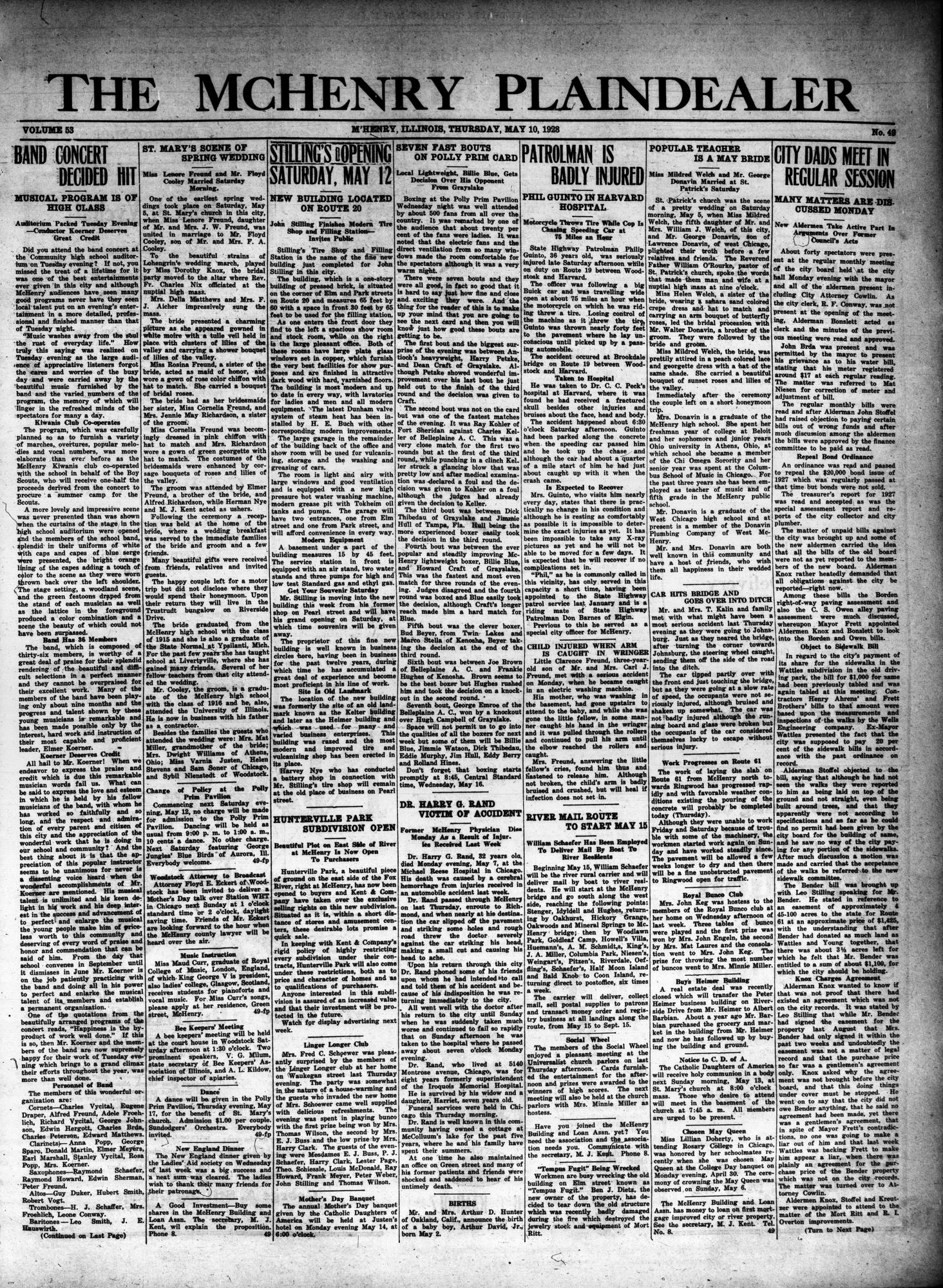 McHenry Plaindealer (McHenry, IL), 10 May 1928