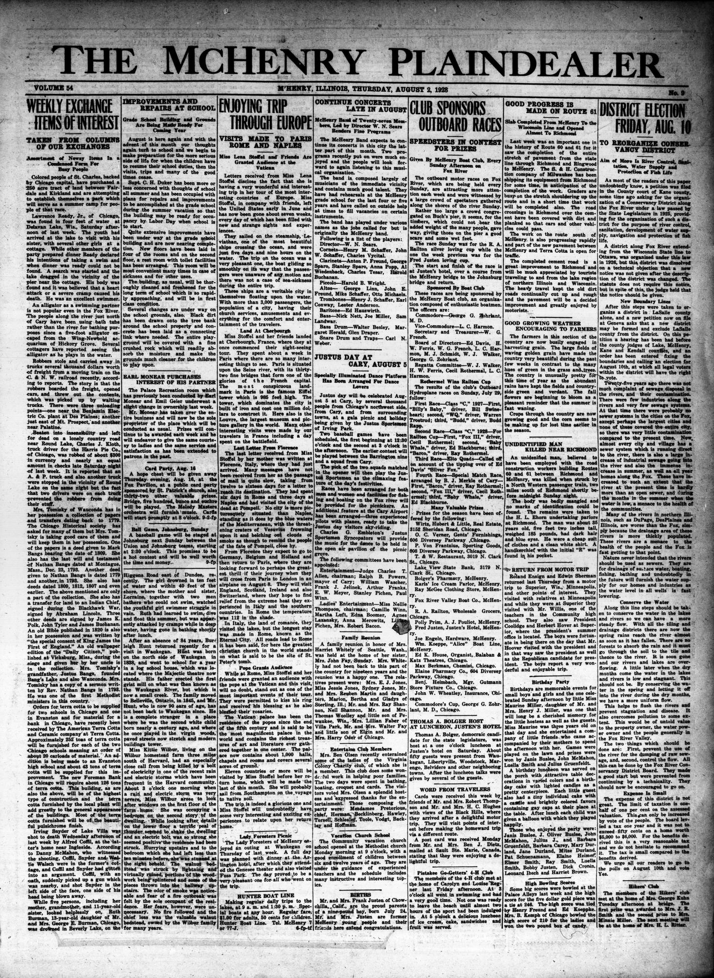 McHenry Plaindealer (McHenry, IL), 2 Aug 1928