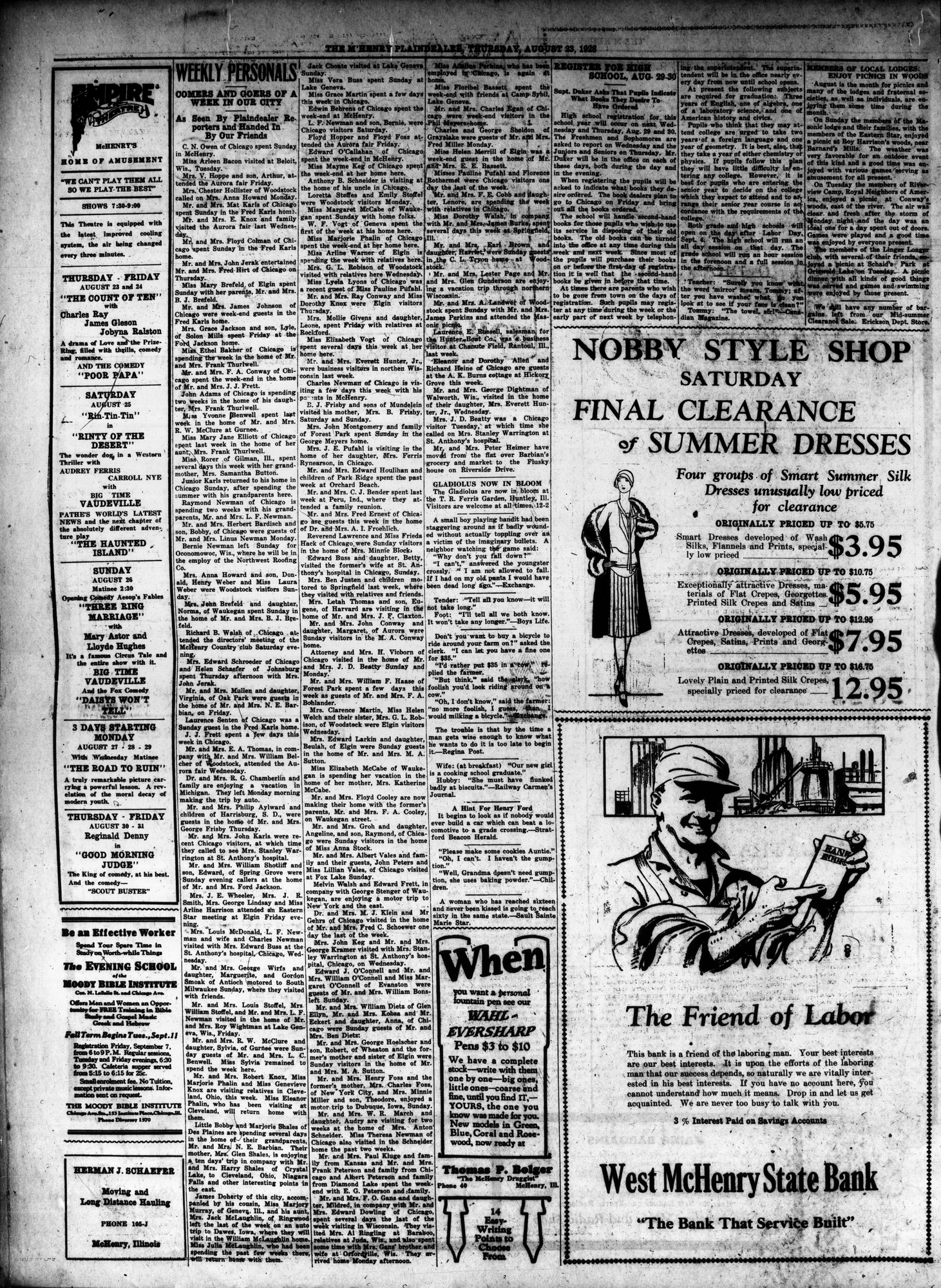 McHenry Plaindealer (McHenry, IL), 23 Aug 1928