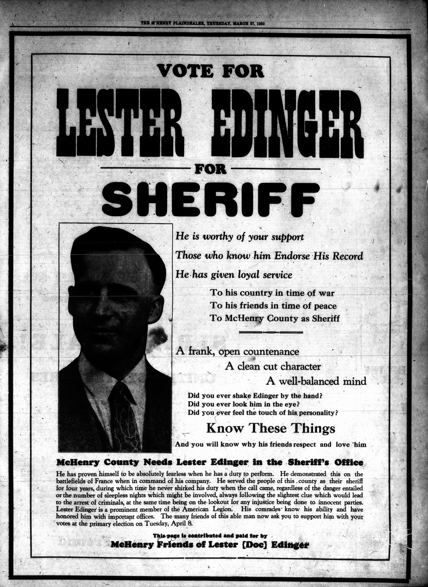 McHenry Plaindealer (McHenry, IL), 27 Mar 1930