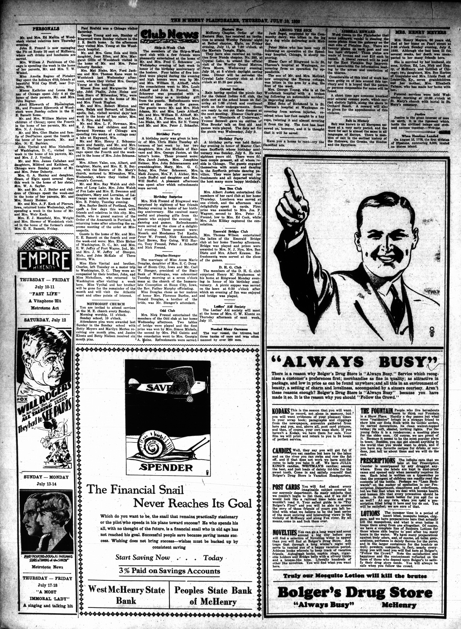 McHenry Plaindealer (McHenry, IL), 10 Jul 1930