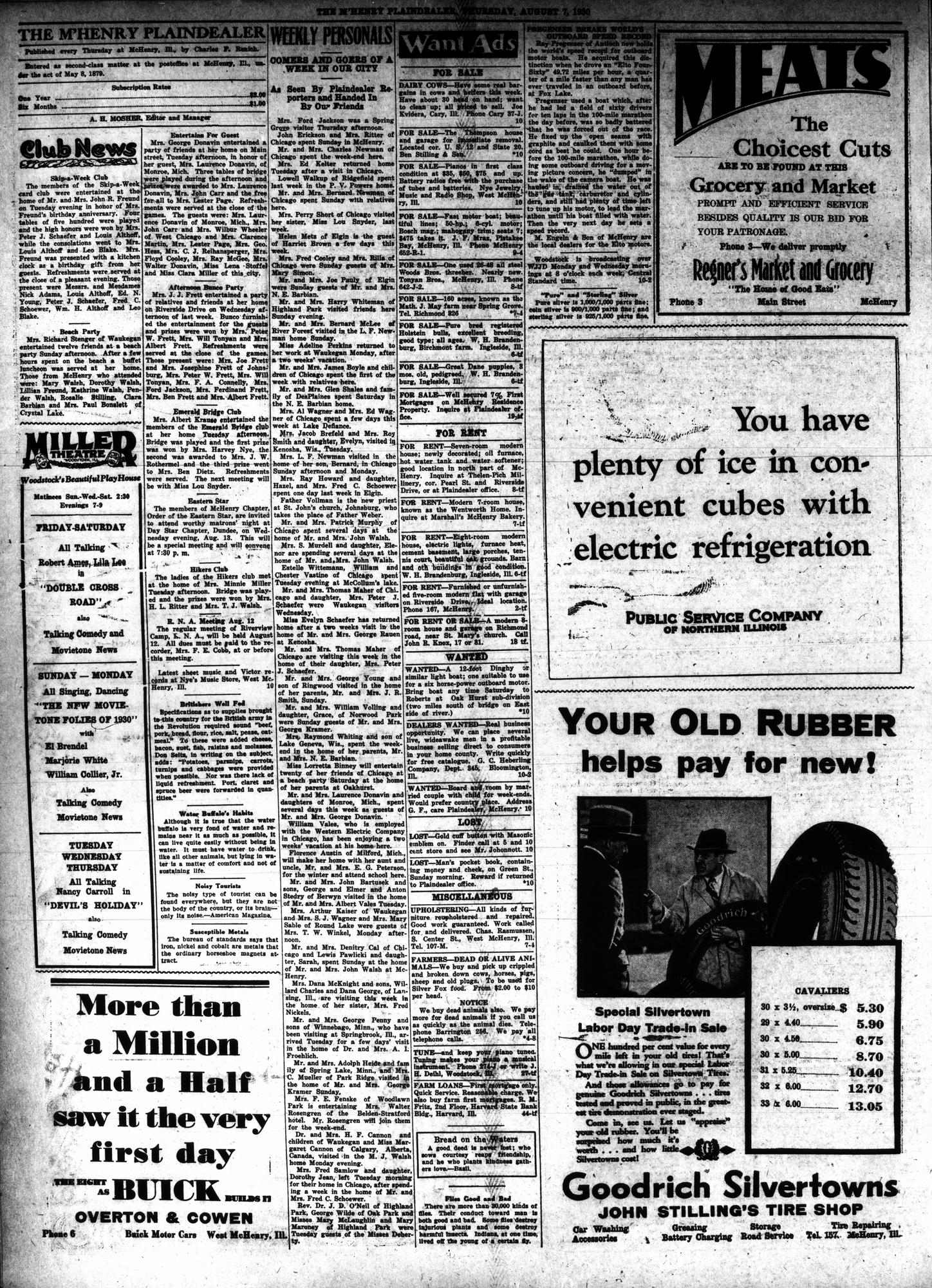 McHenry Plaindealer (McHenry, IL), 7 Aug 1930