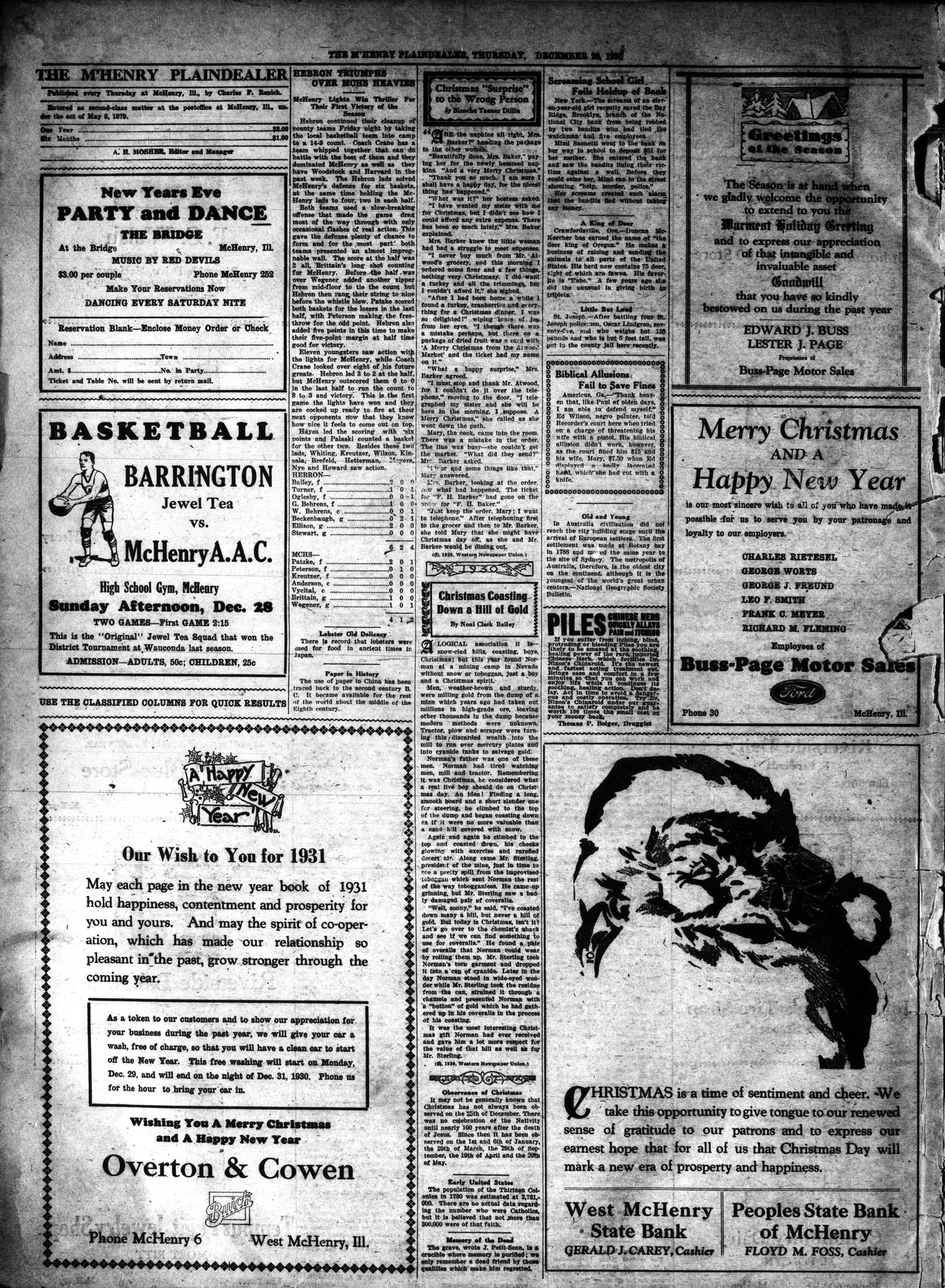 McHenry Plaindealer (McHenry, IL), 25 Dec 1930
