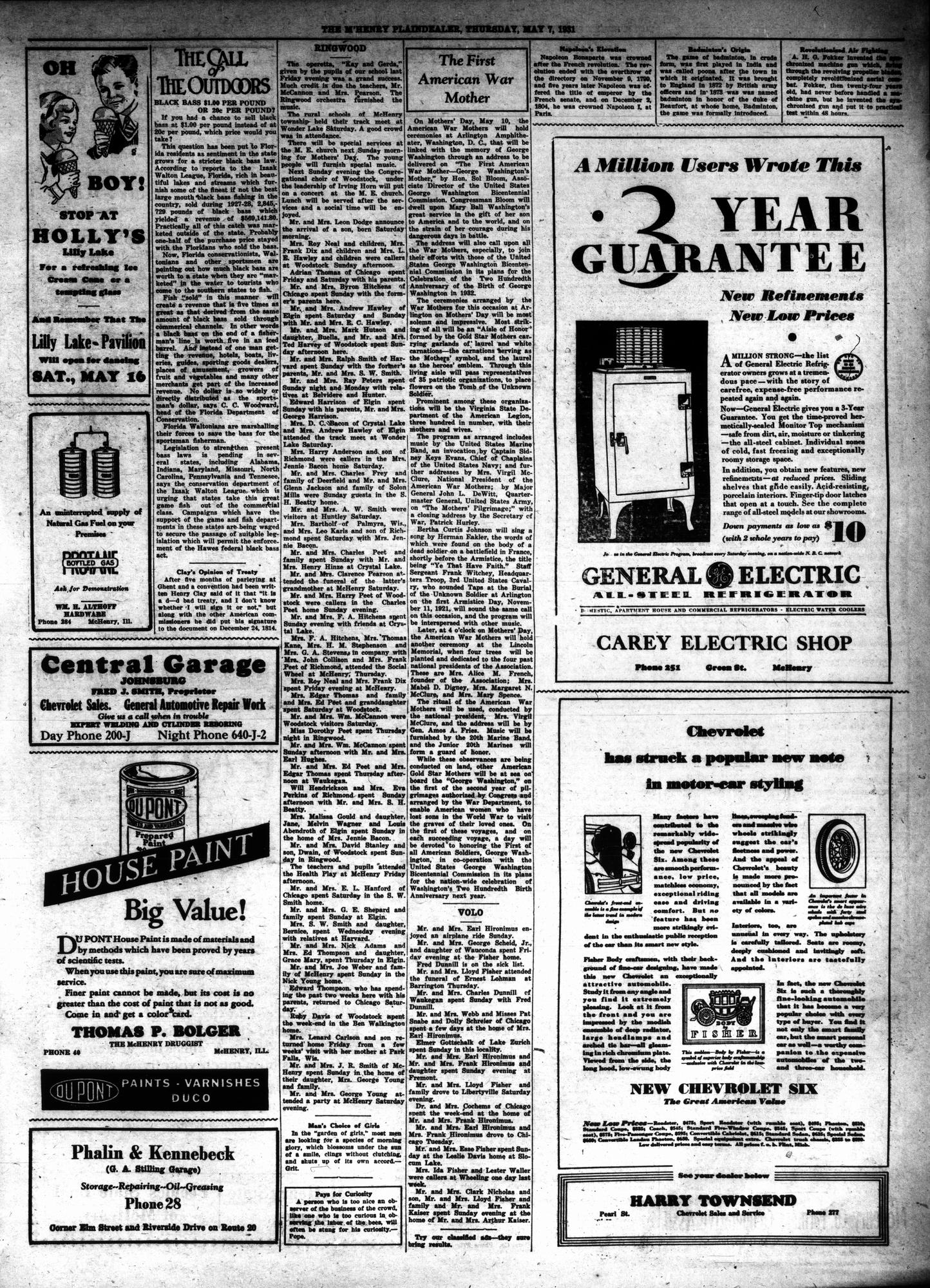 McHenry Plaindealer (McHenry, IL), 7 May 1931