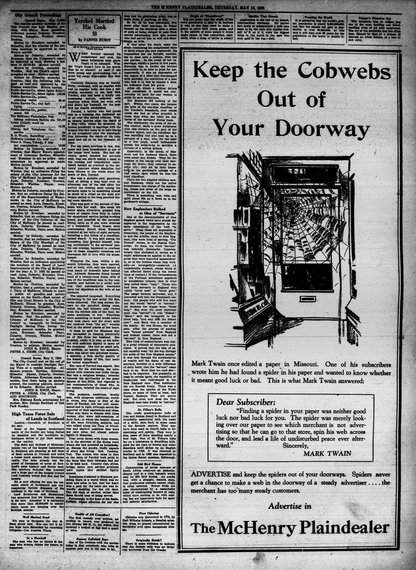 McHenry Plaindealer (McHenry, IL), 12 May 1932