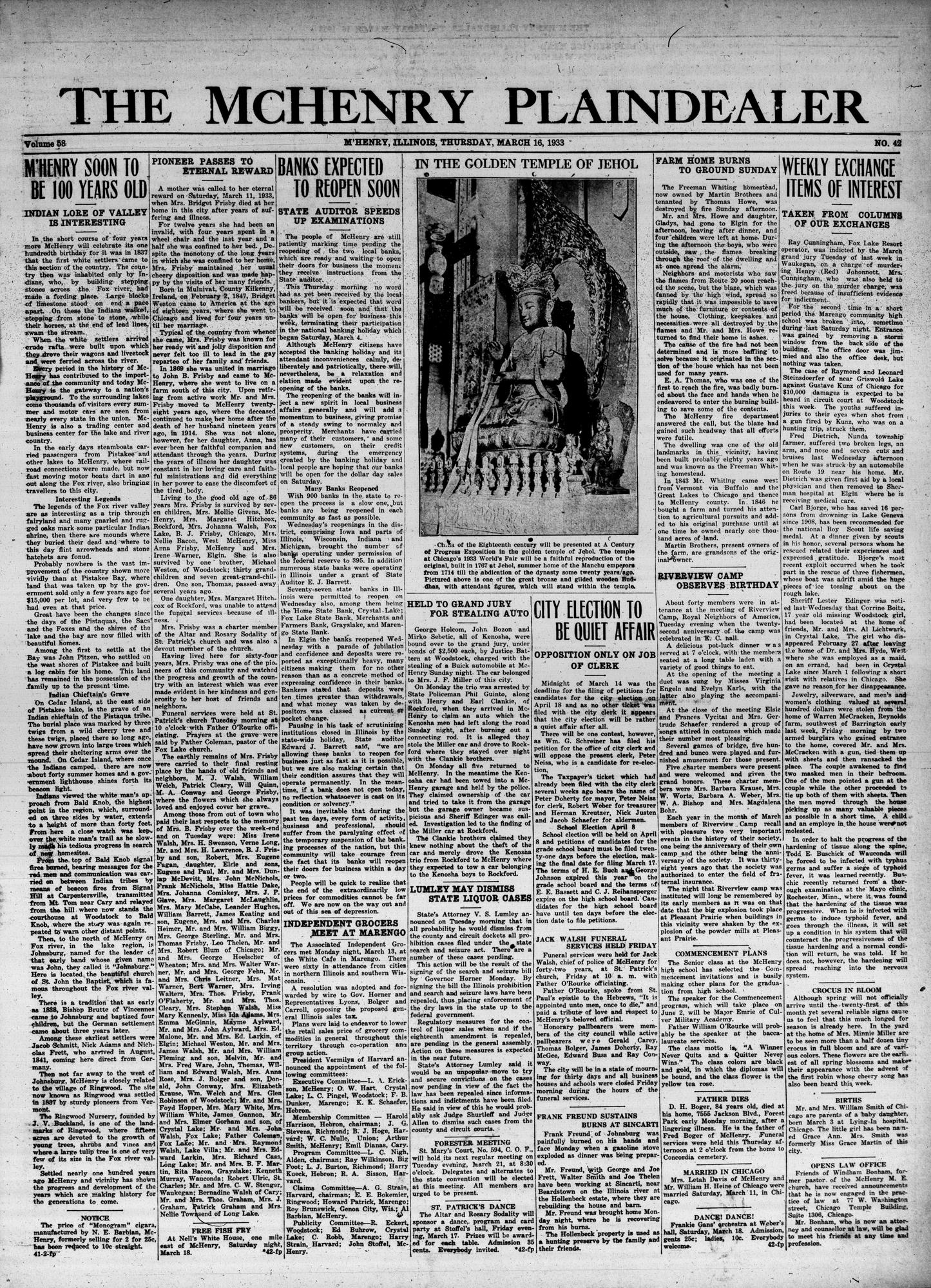 McHenry Plaindealer (McHenry, IL), 16 Mar 1933