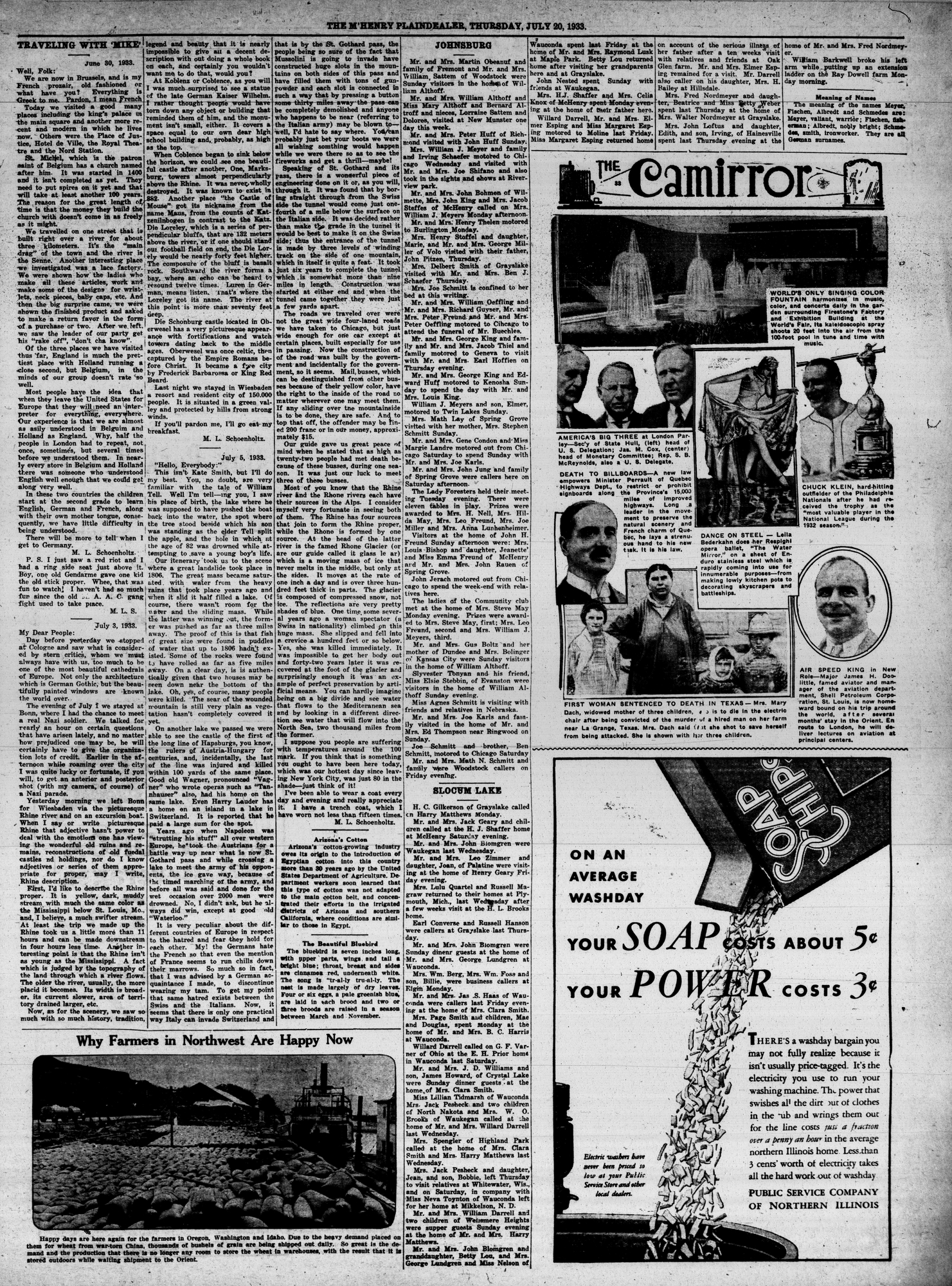 McHenry Plaindealer (McHenry, IL), 20 Jul 1933
