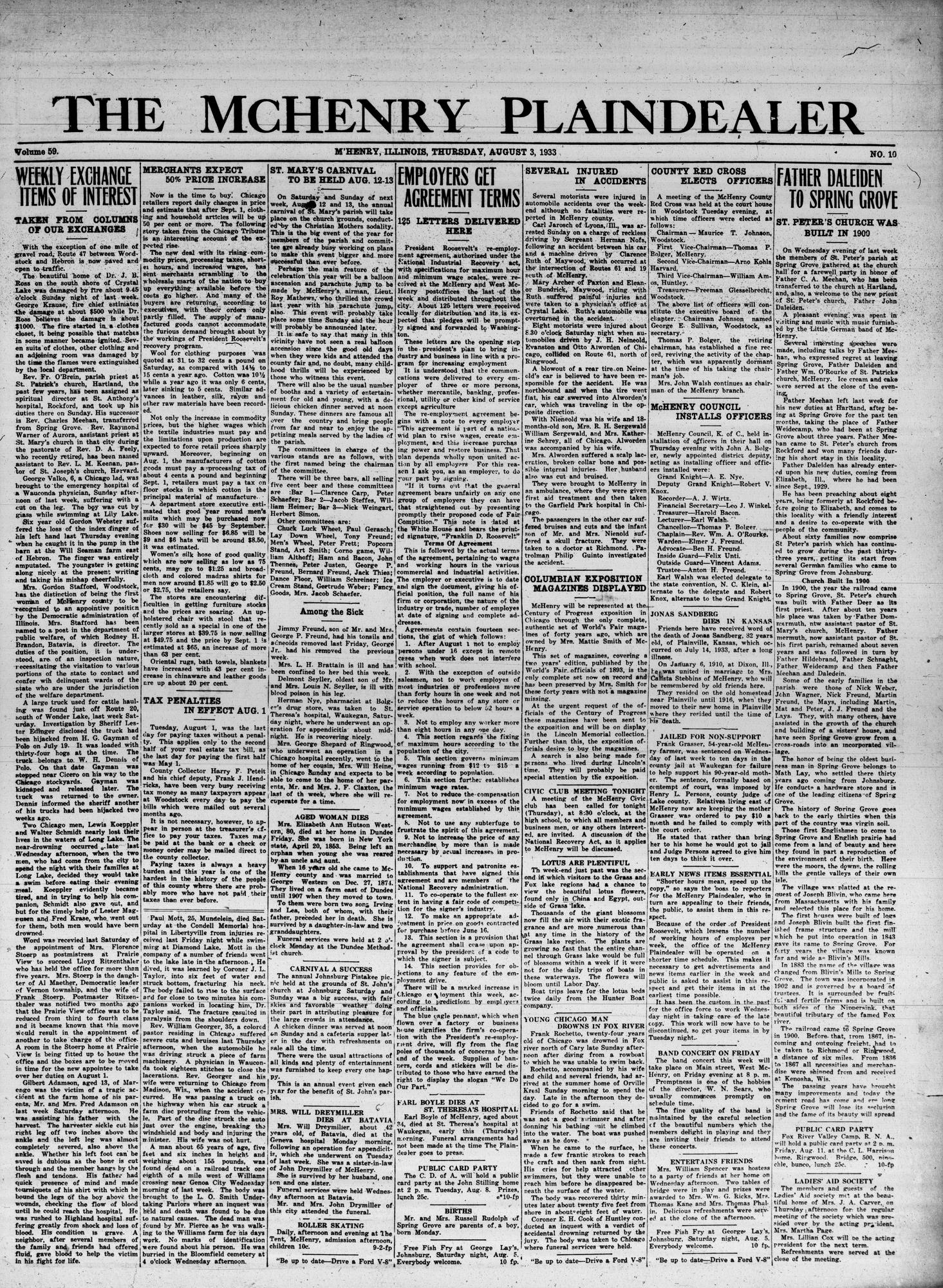 McHenry Plaindealer (McHenry, IL), 3 Aug 1933