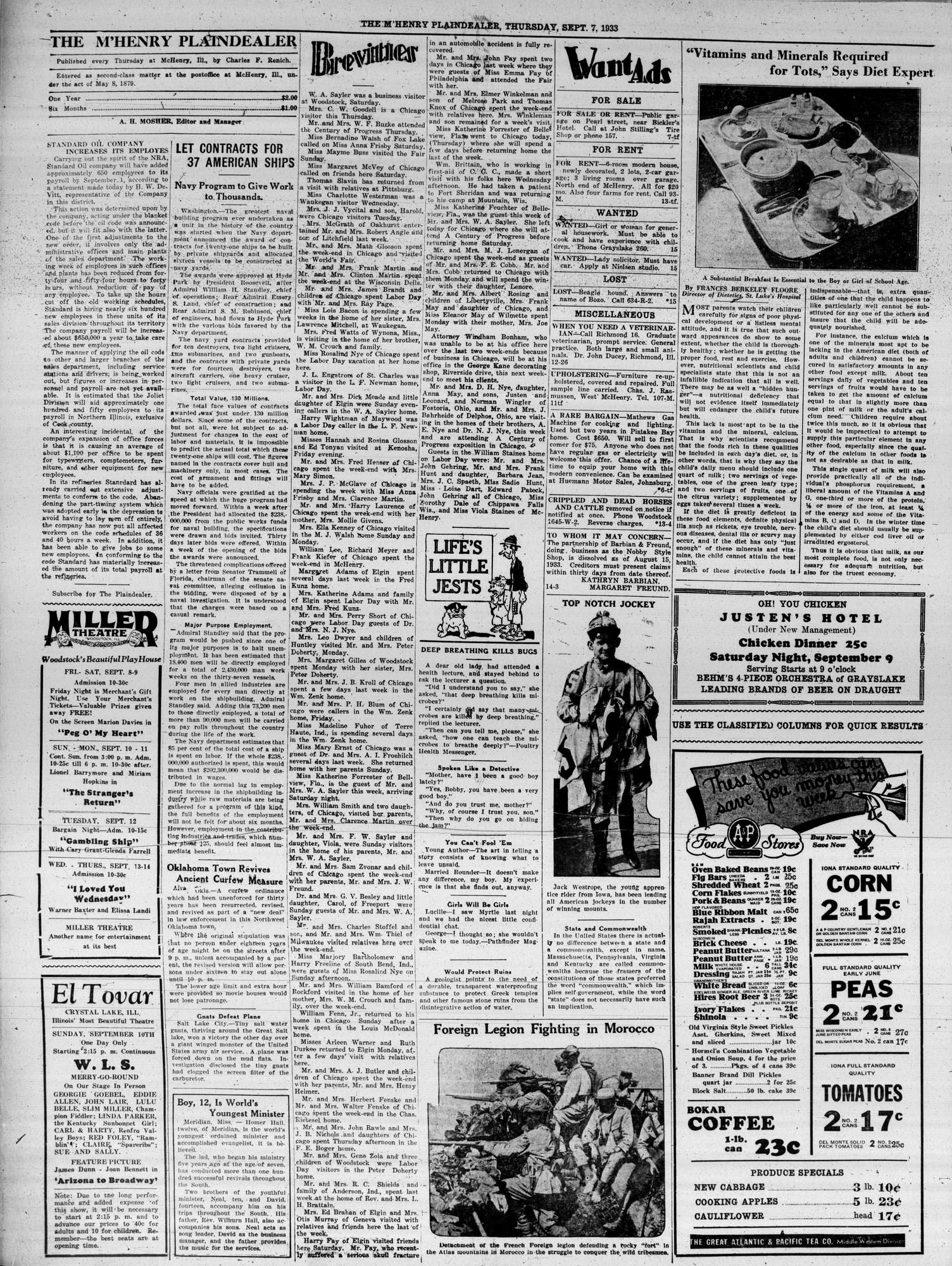 McHenry Plaindealer (McHenry, IL), 7 Sep 1933