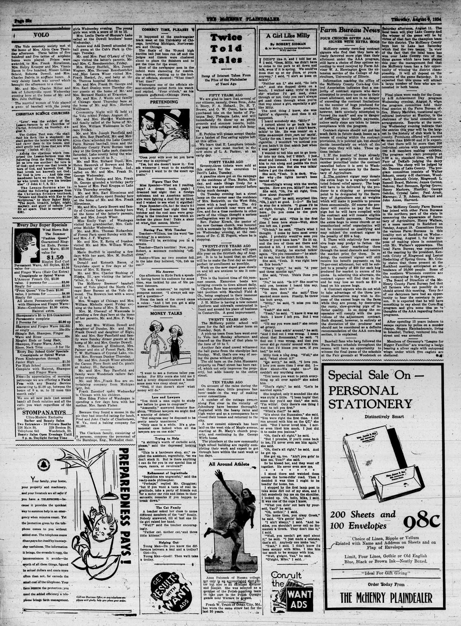 McHenry Plaindealer (McHenry, IL), 9 Aug 1934