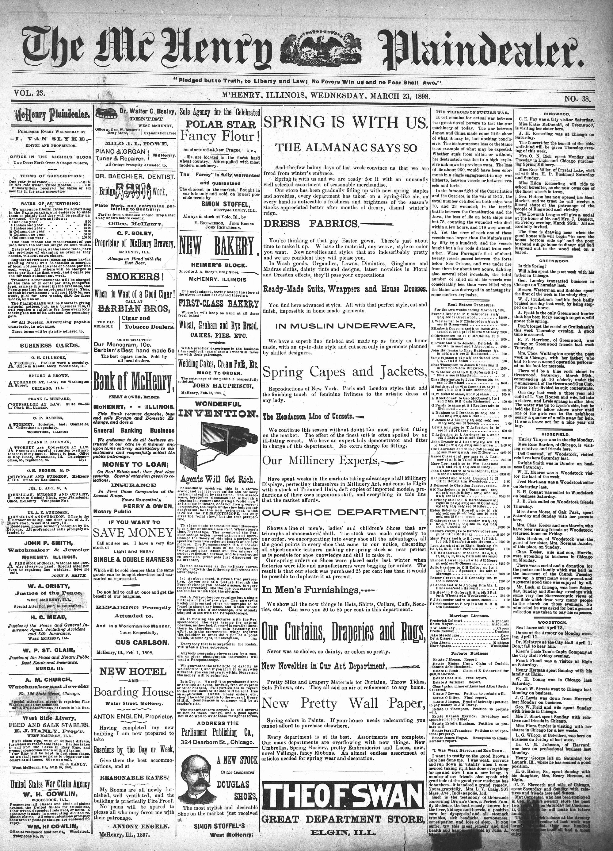 McHenry Plaindealer (McHenry, IL), 23 Mar 1898