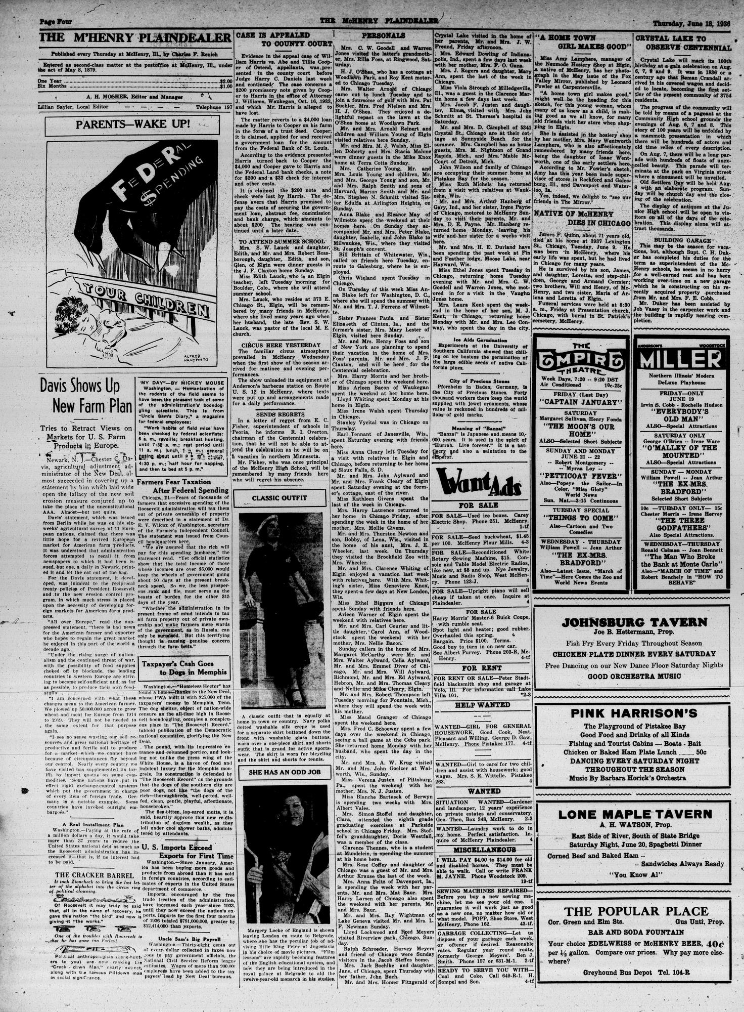 McHenry Plaindealer (McHenry, IL), 18 Jun 1936