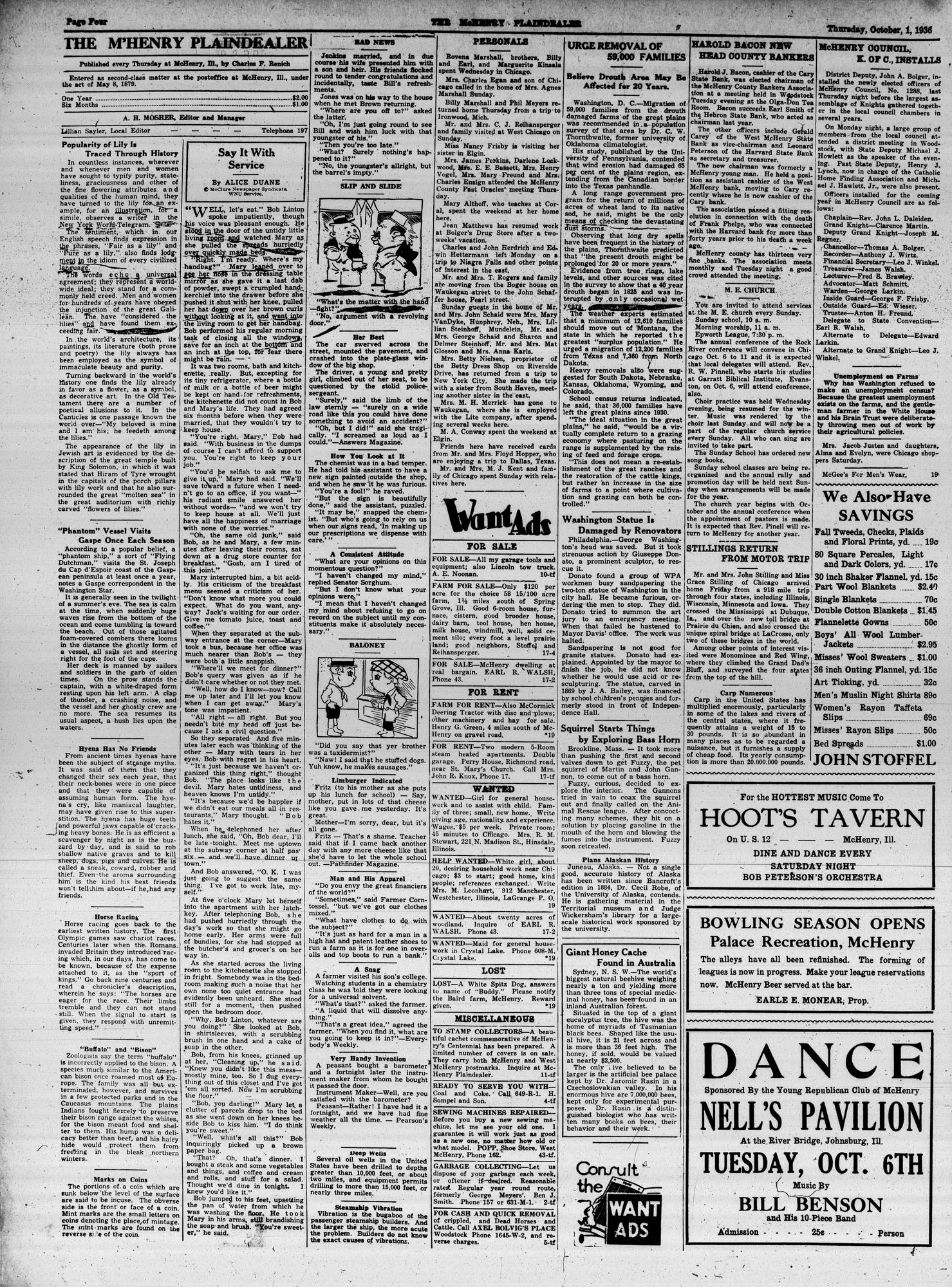McHenry Plaindealer (McHenry, IL), 1 Oct 1936