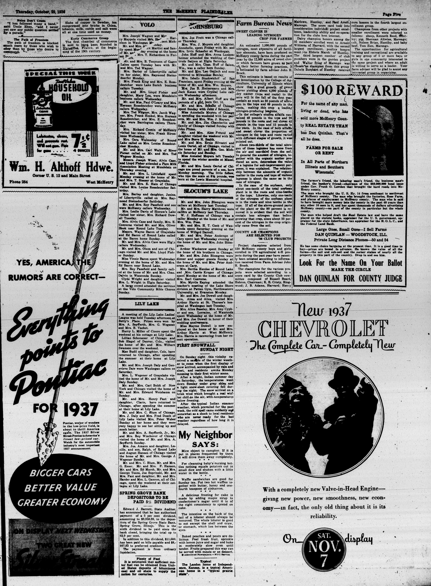 McHenry Plaindealer (McHenry, IL), 29 Oct 1936
