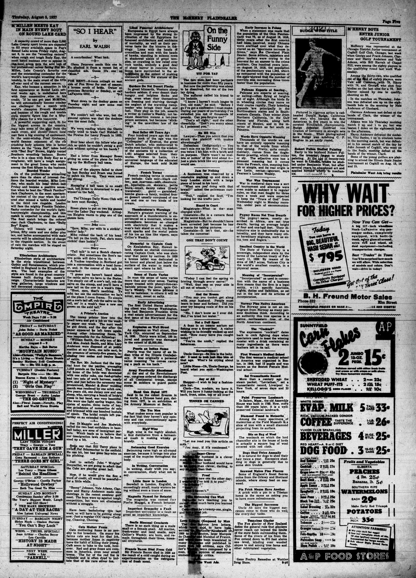 McHenry Plaindealer (McHenry, IL), 5 Aug 1937