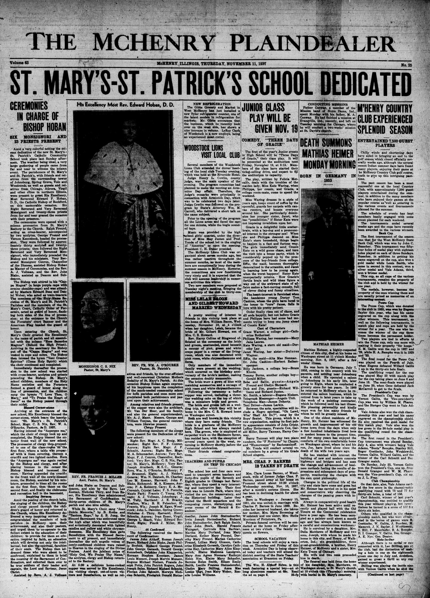 McHenry Plaindealer (McHenry, IL), 11 Nov 1937