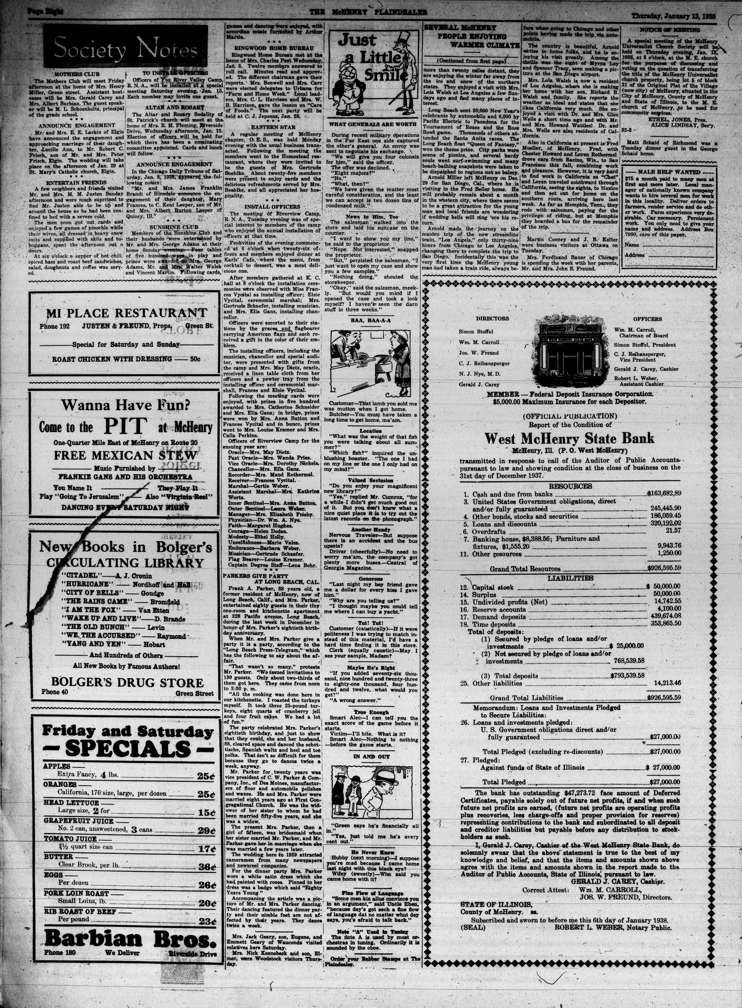McHenry Plaindealer (McHenry, IL), 13 Jan 1938
