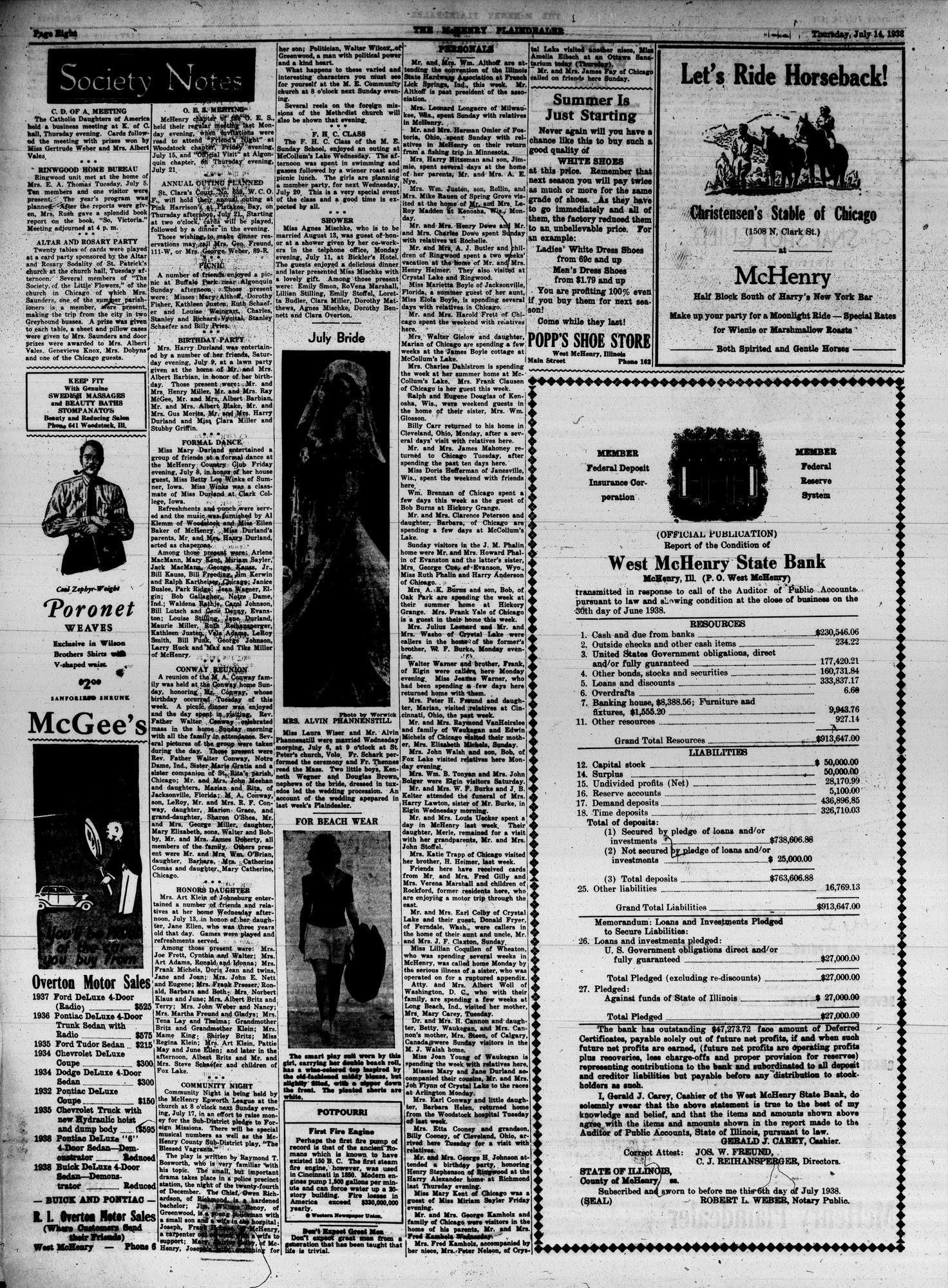 McHenry Plaindealer (McHenry, IL), 14 Jul 1938