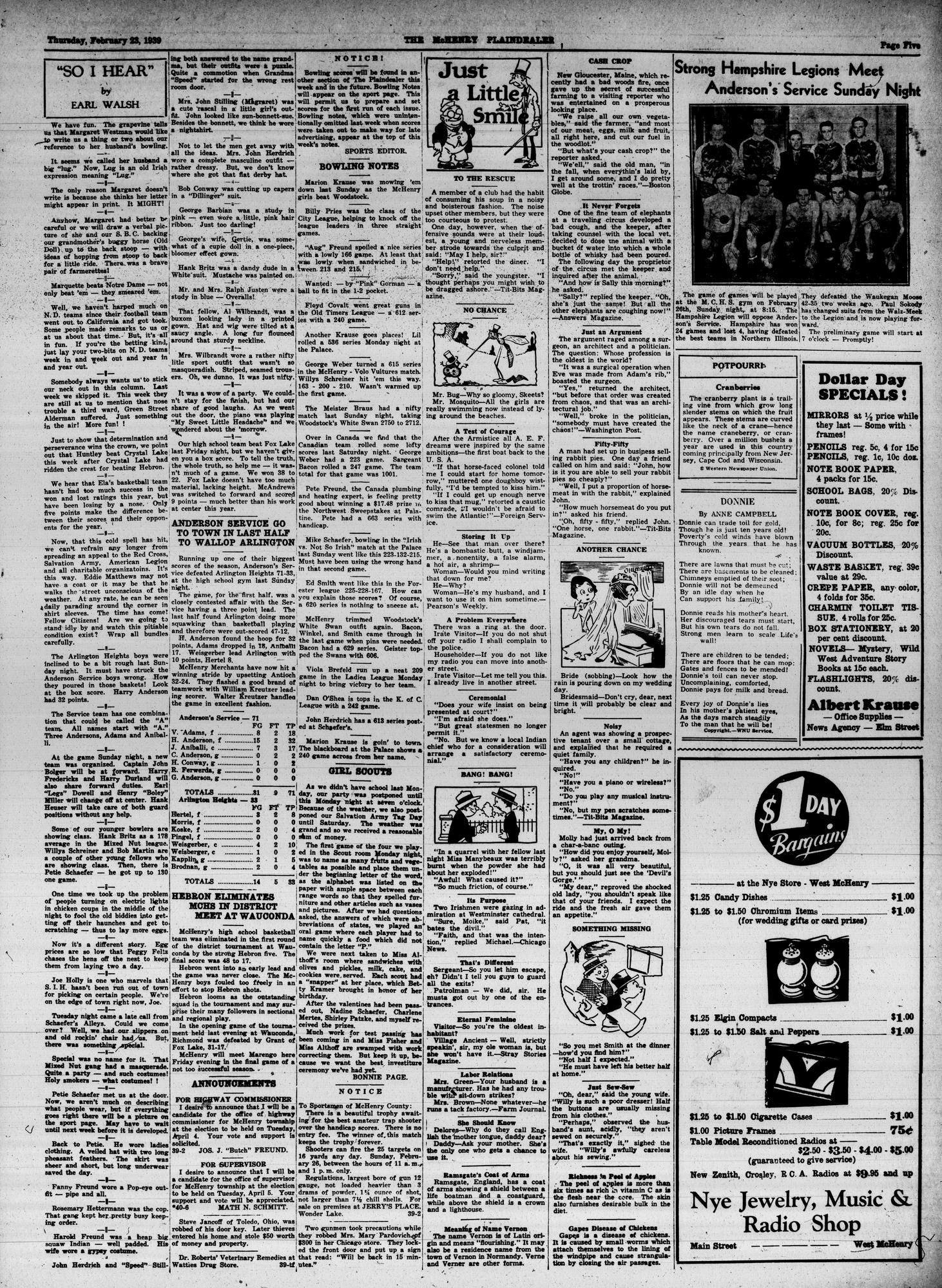 McHenry Plaindealer (McHenry, IL), 23 Feb 1939
