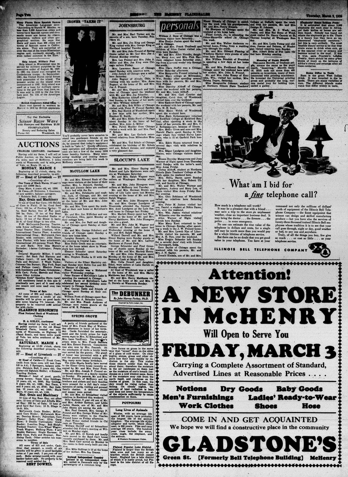 McHenry Plaindealer (McHenry, IL), 2 Mar 1939