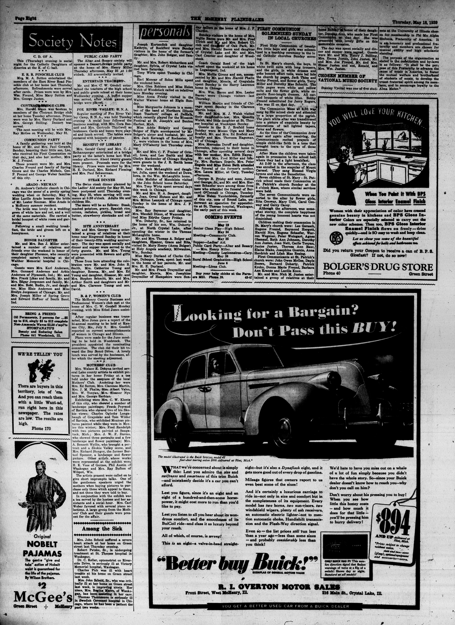McHenry Plaindealer (McHenry, IL), 18 May 1939