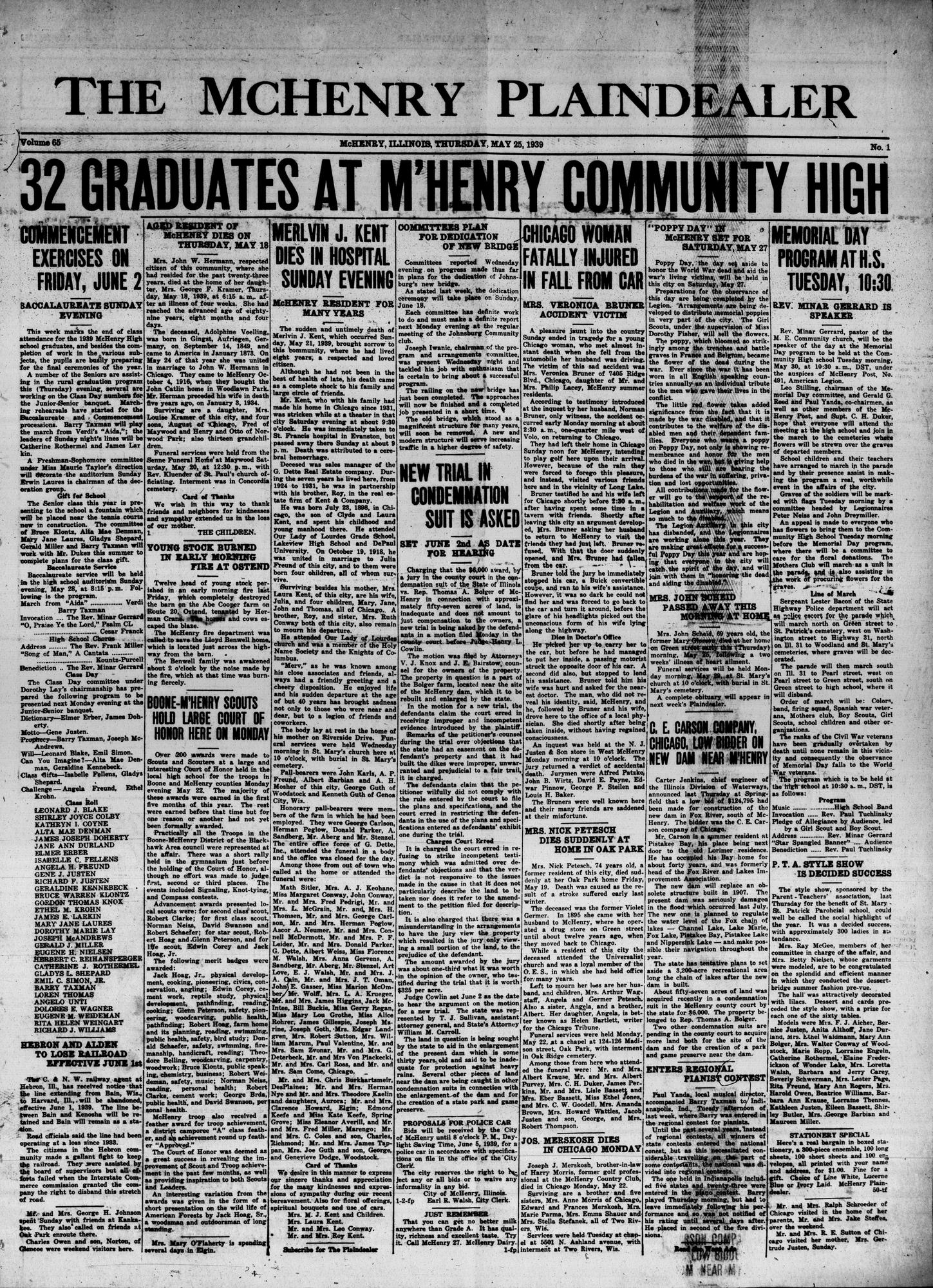 McHenry Plaindealer (McHenry, IL), 25 May 1939