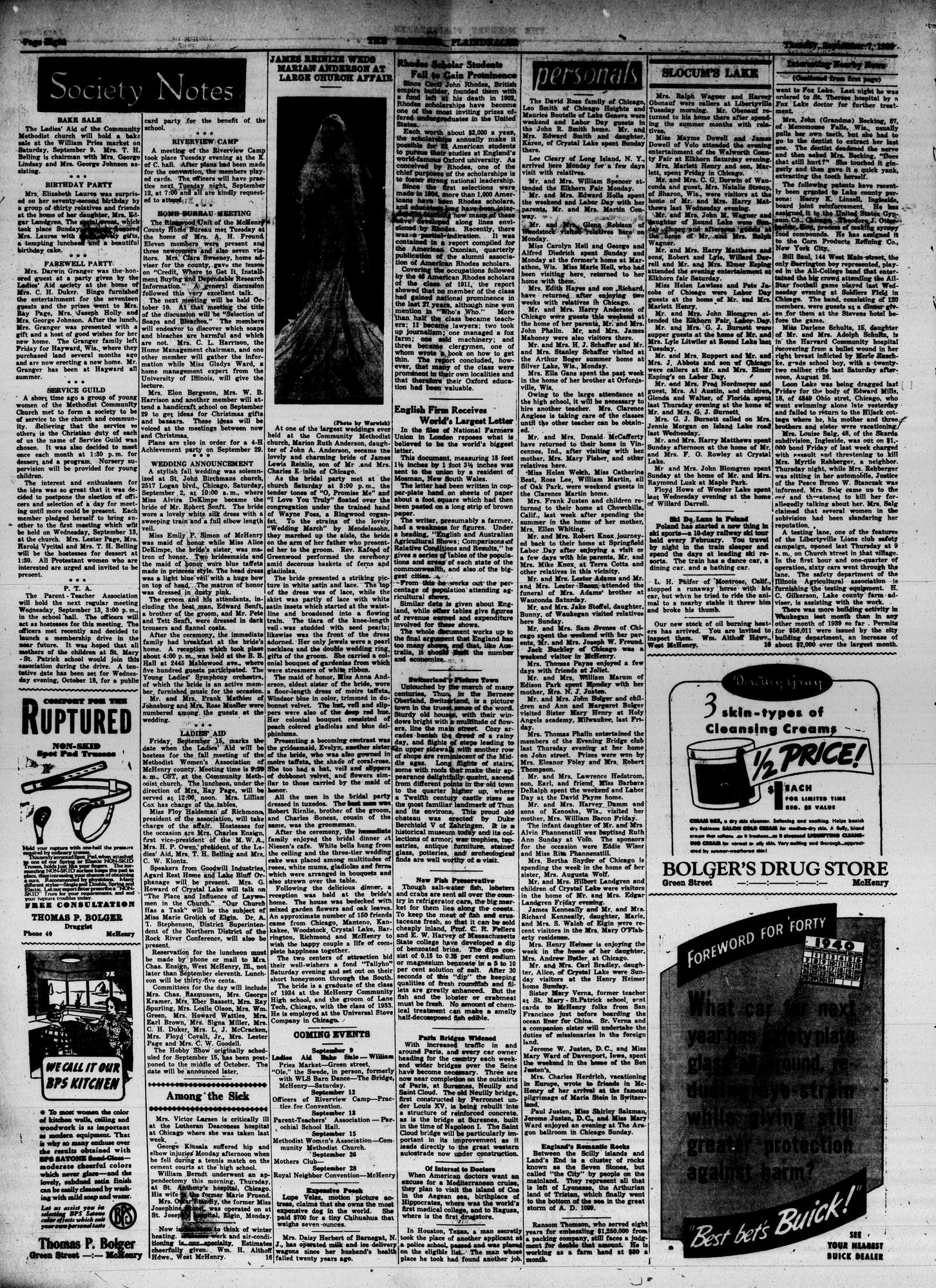 McHenry Plaindealer (McHenry, IL), 7 Sep 1939