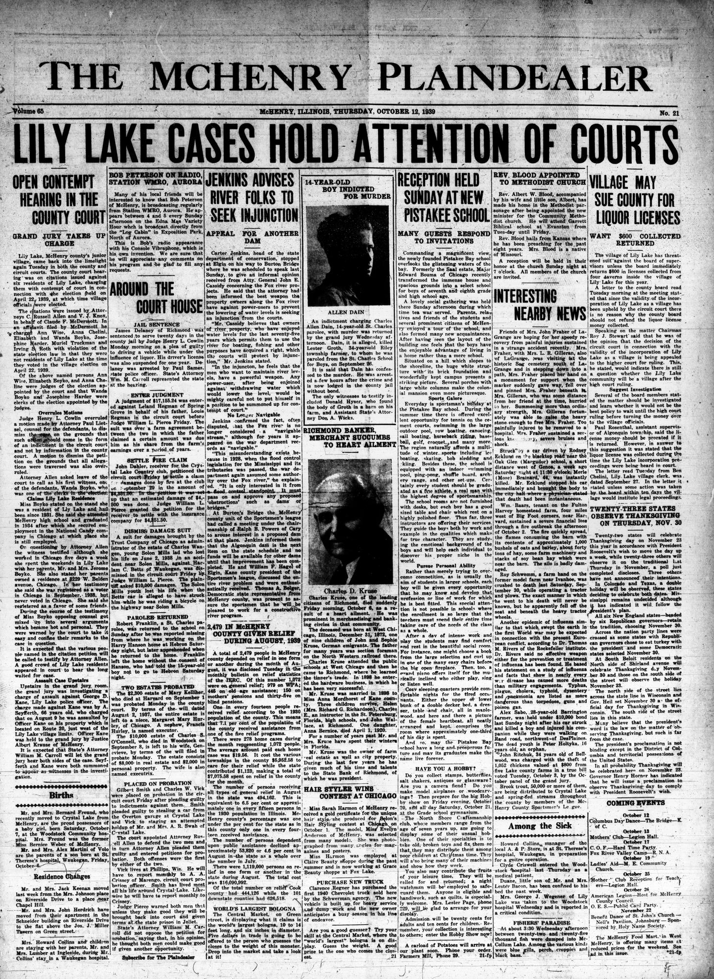McHenry Plaindealer (McHenry, IL), 12 Oct 1939
