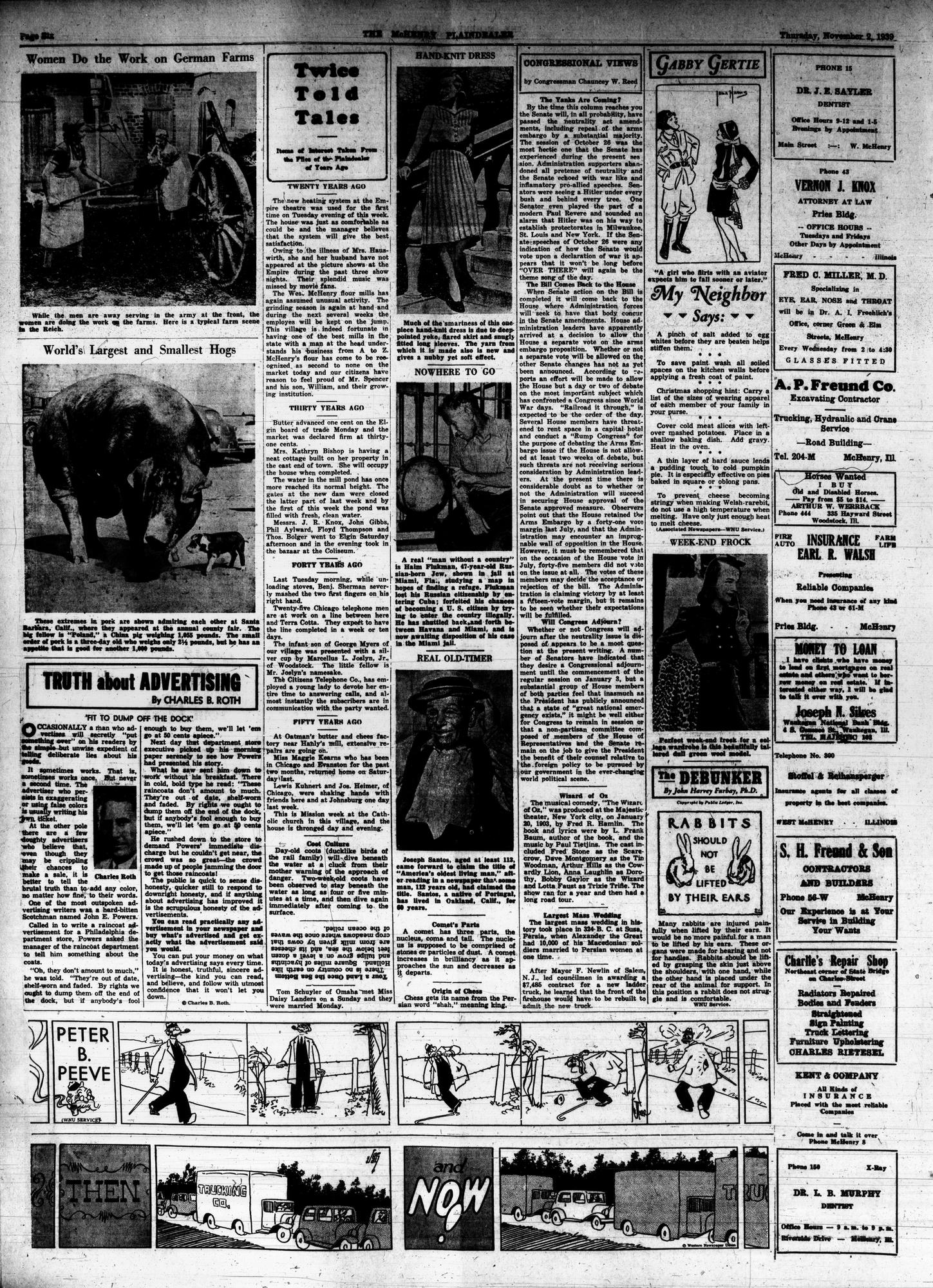 McHenry Plaindealer (McHenry, IL), 3 Nov 1939