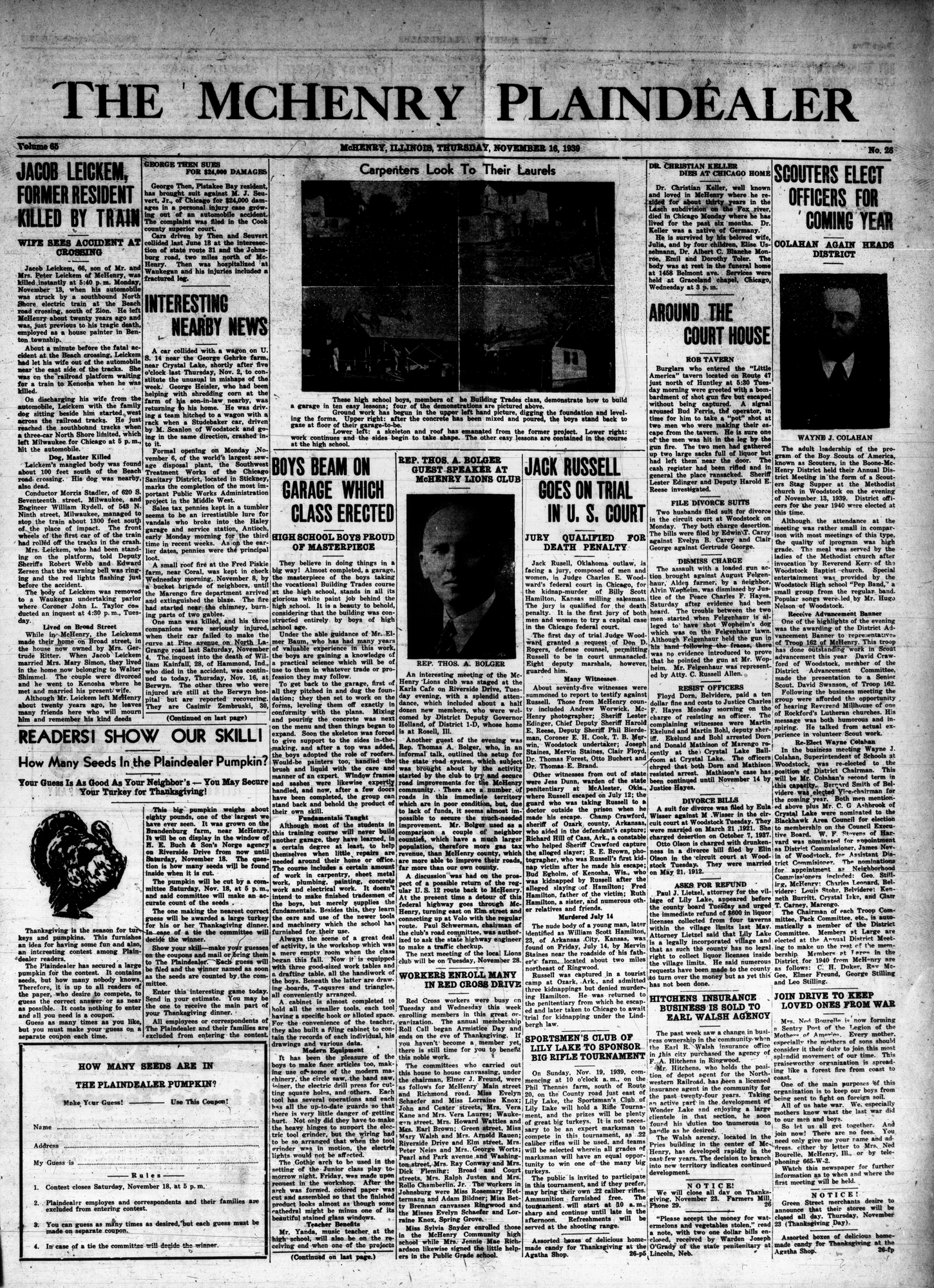 McHenry Plaindealer (McHenry, IL), 16 Nov 1939