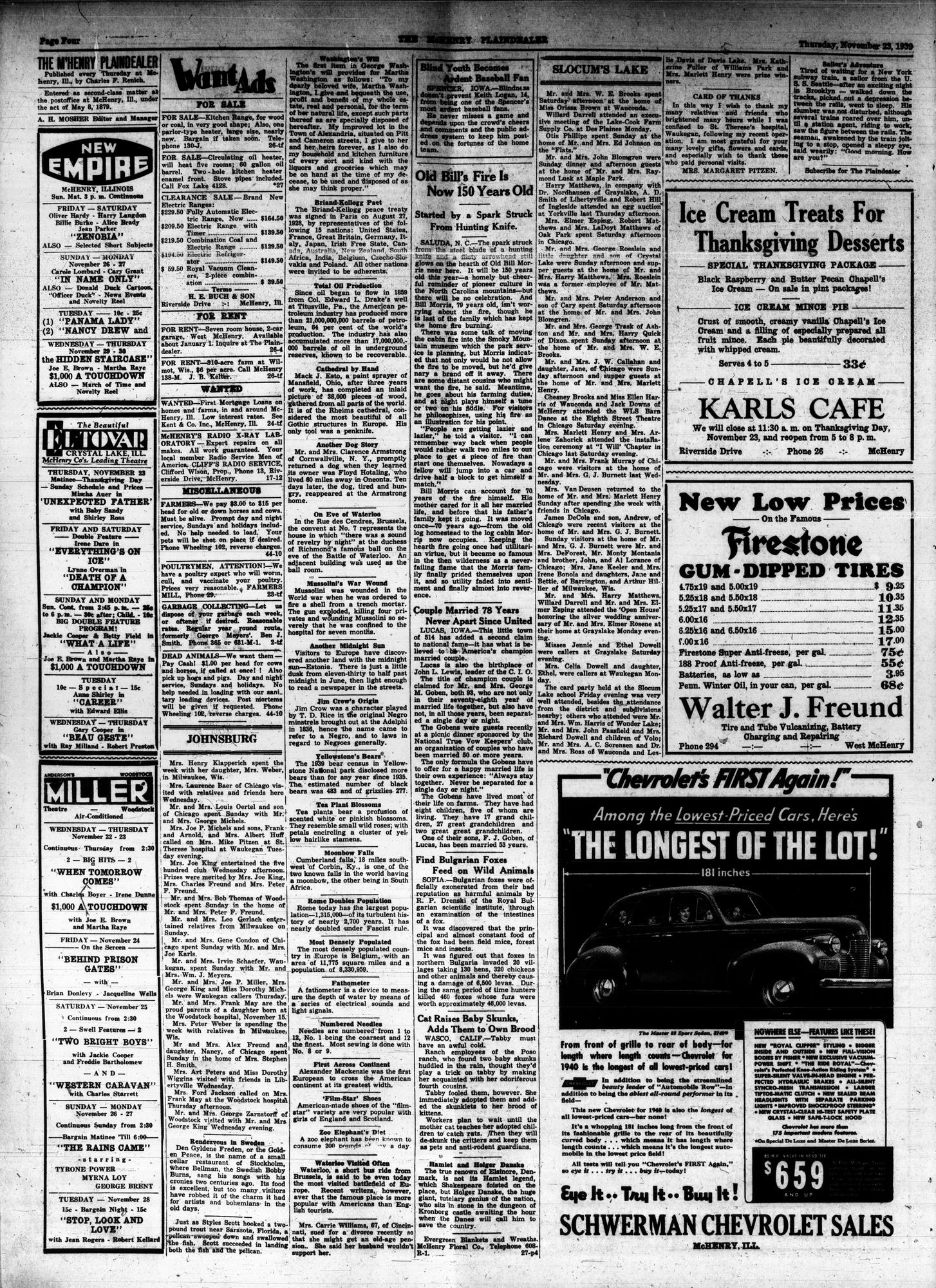 McHenry Plaindealer (McHenry, IL), 23 Nov 1939