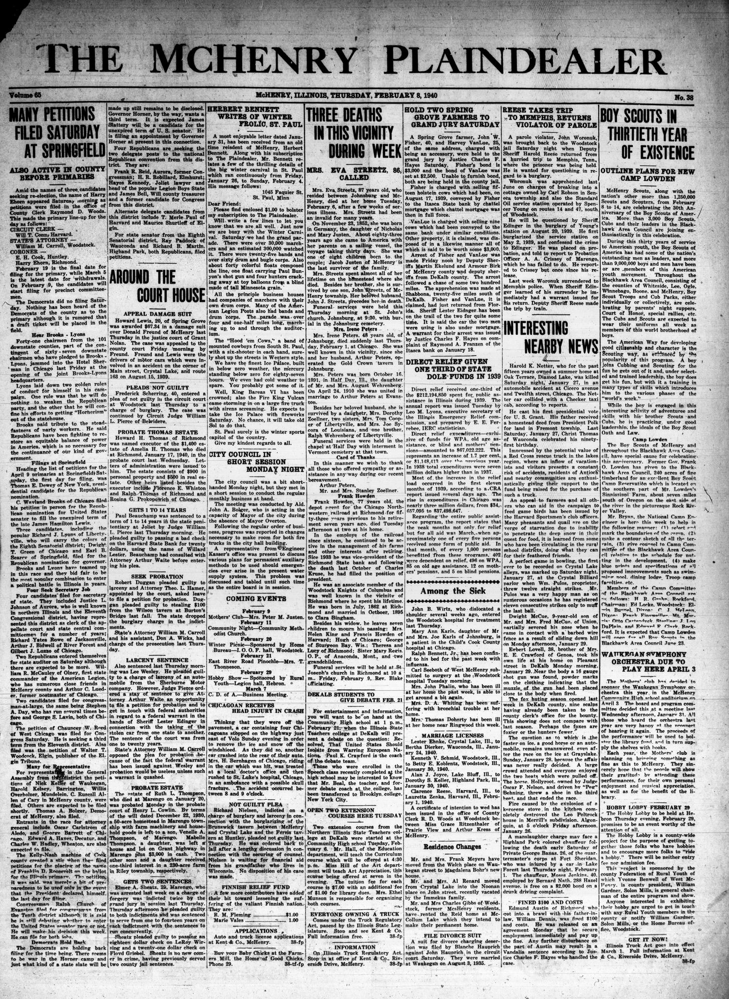 McHenry Plaindealer (McHenry, IL), 8 Feb 1940