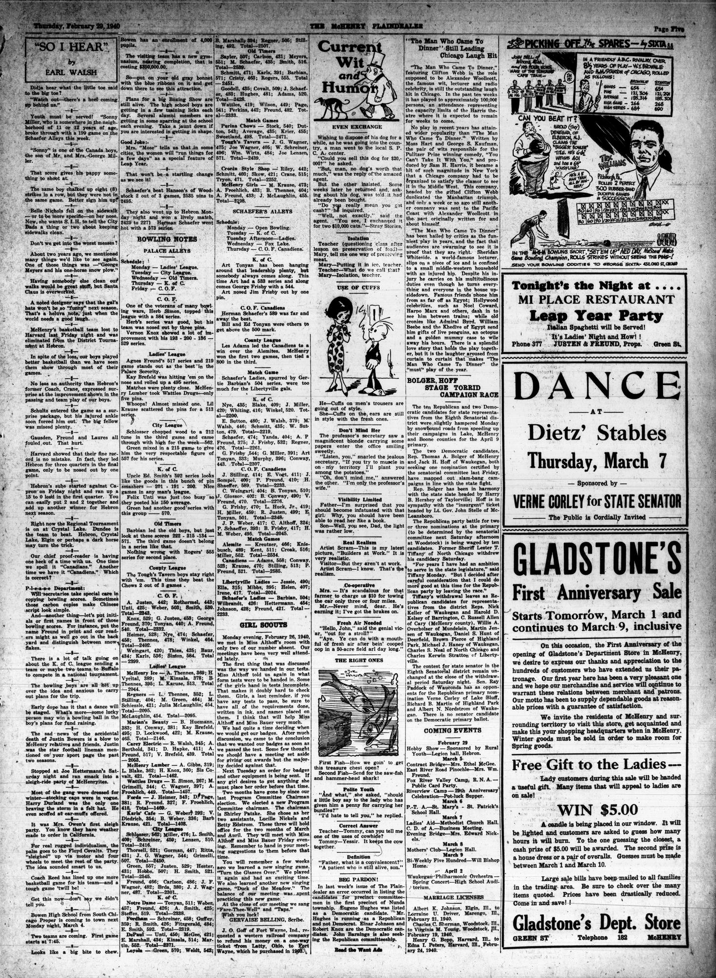 McHenry Plaindealer (McHenry, IL), 29 Feb 1940