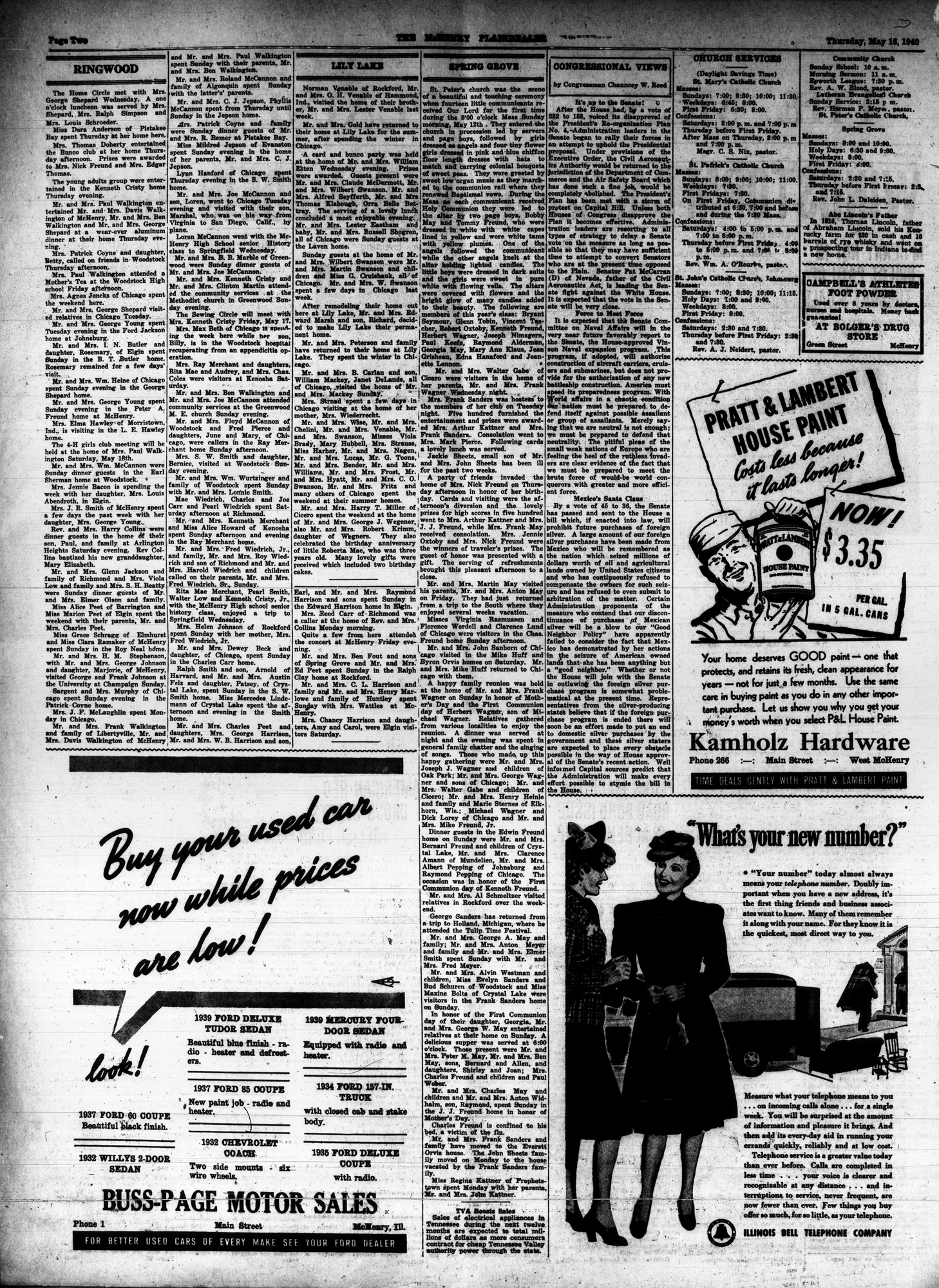McHenry Plaindealer (McHenry, IL), 16 May 1940