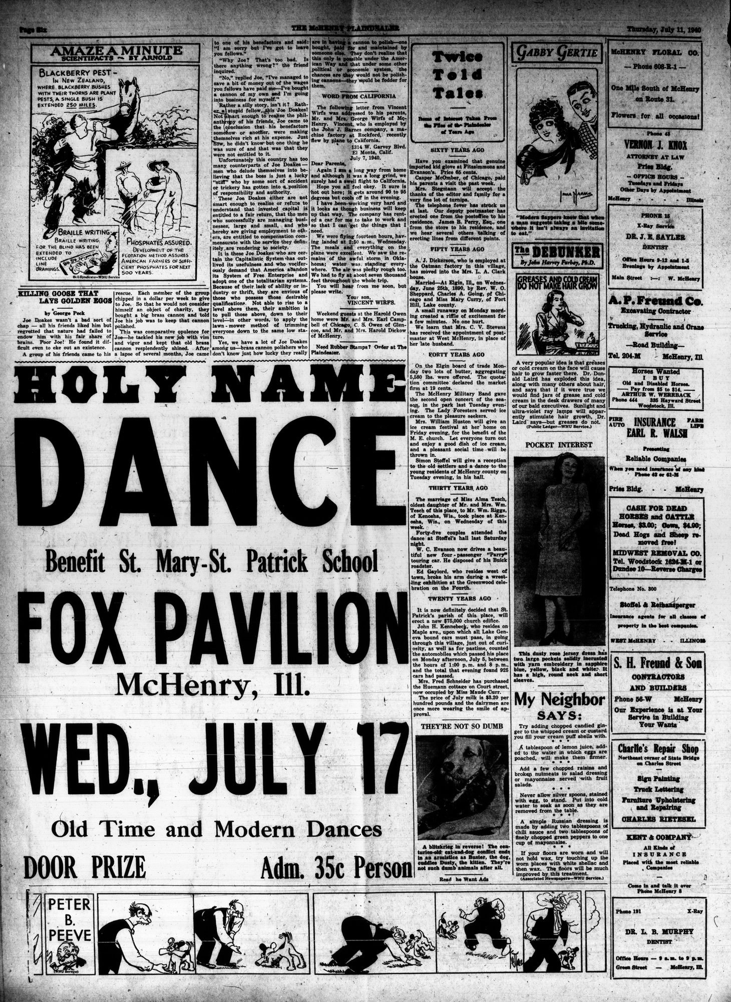 McHenry Plaindealer (McHenry, IL), 11 Jul 1940