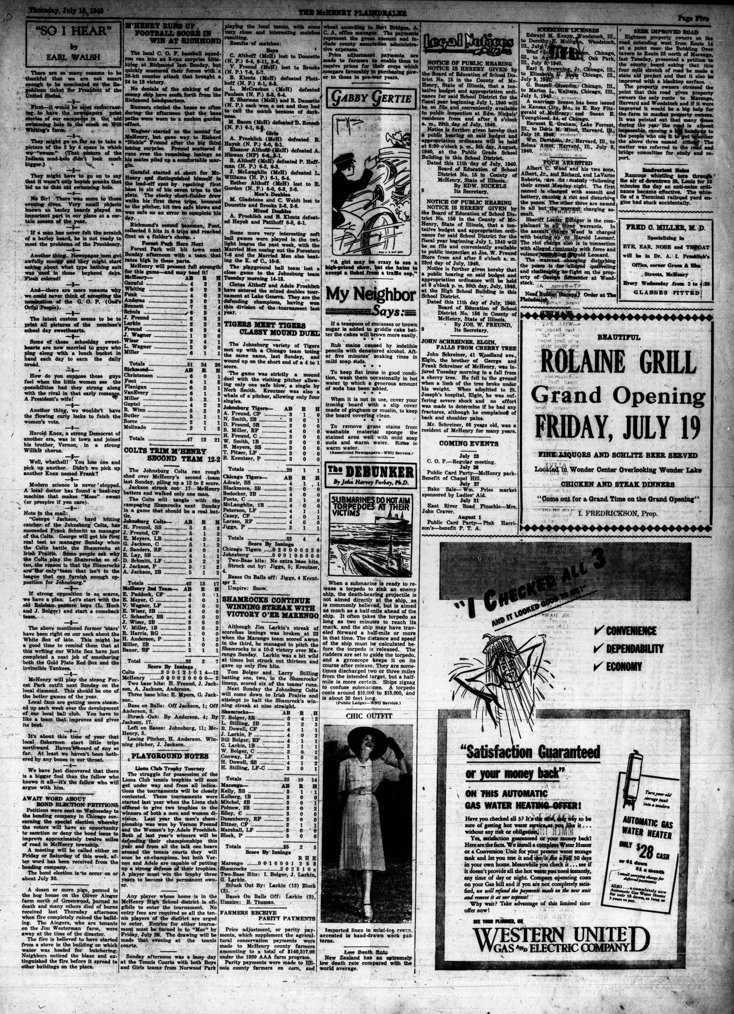 McHenry Plaindealer (McHenry, IL), 18 Jul 1940