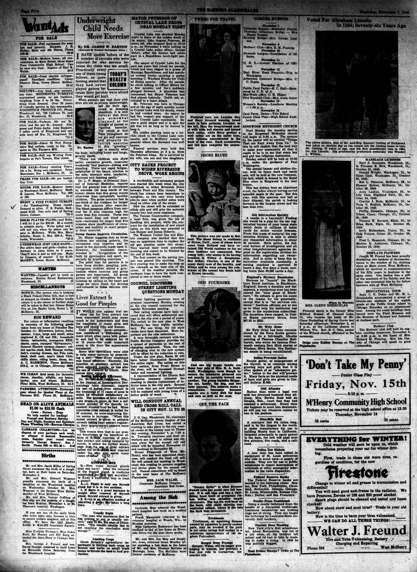 McHenry Plaindealer (McHenry, IL), 7 Nov 1940