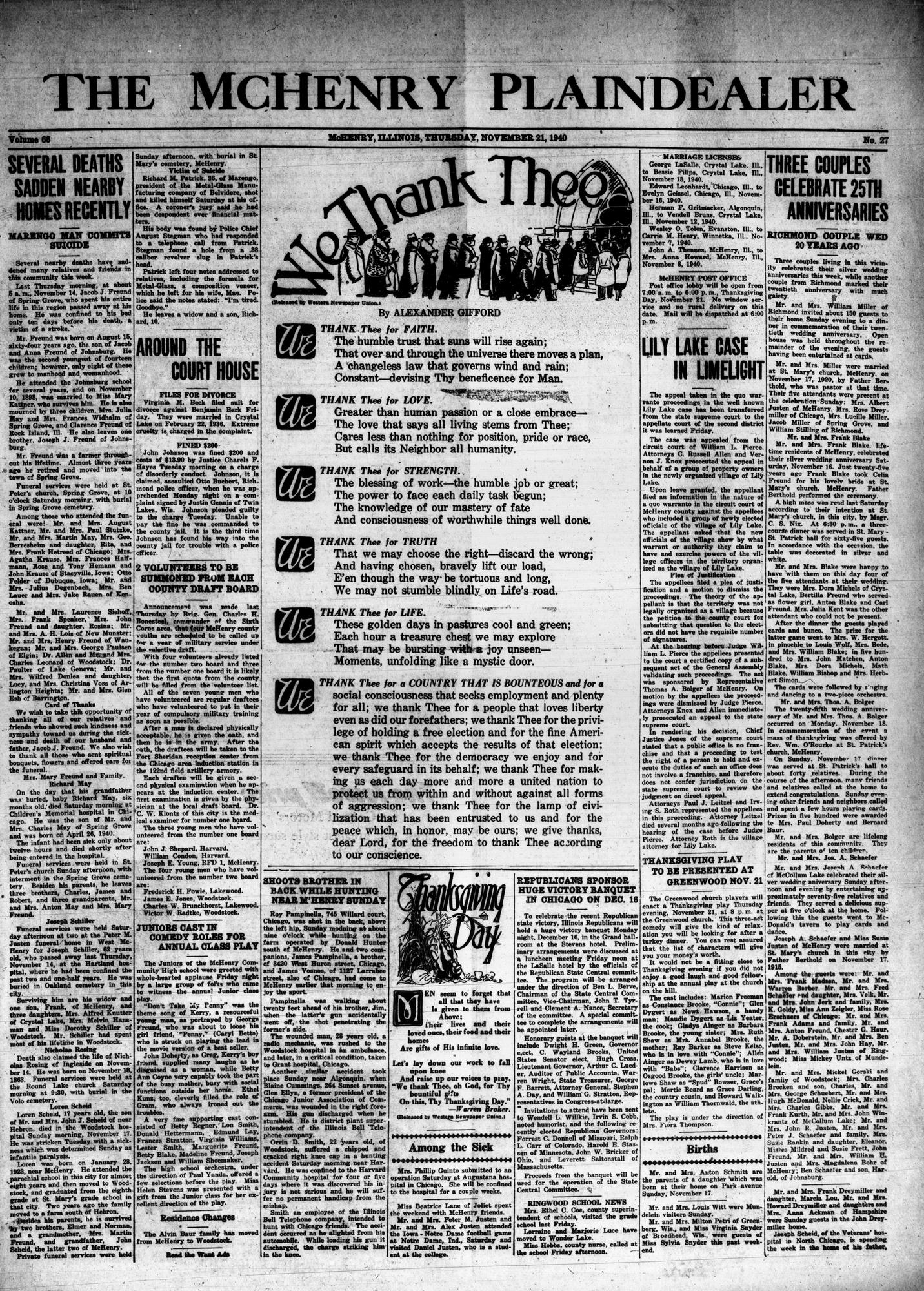 McHenry Plaindealer (McHenry, IL), 21 Nov 1940