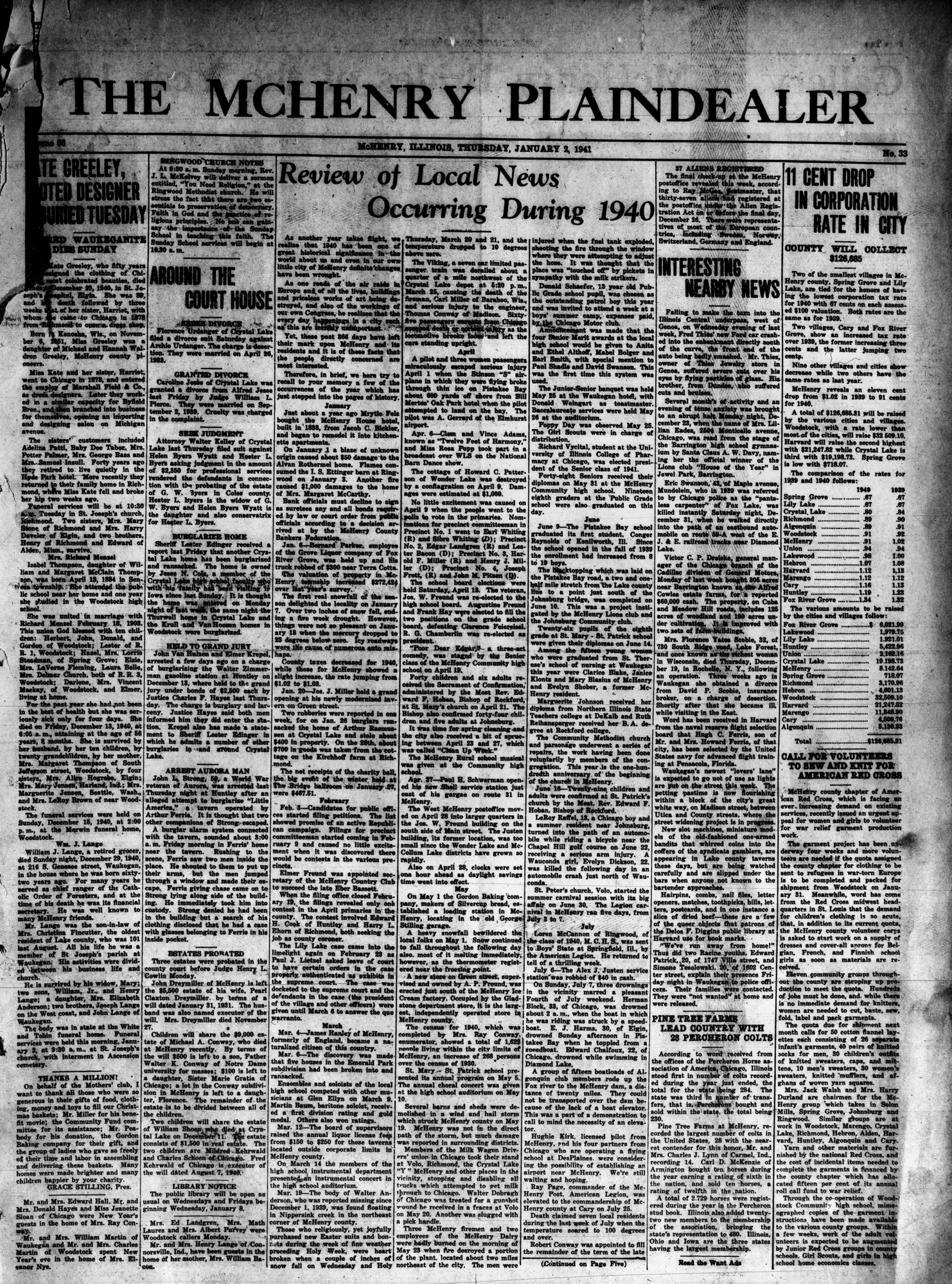 McHenry Plaindealer (McHenry, IL), 2 Jan 1941