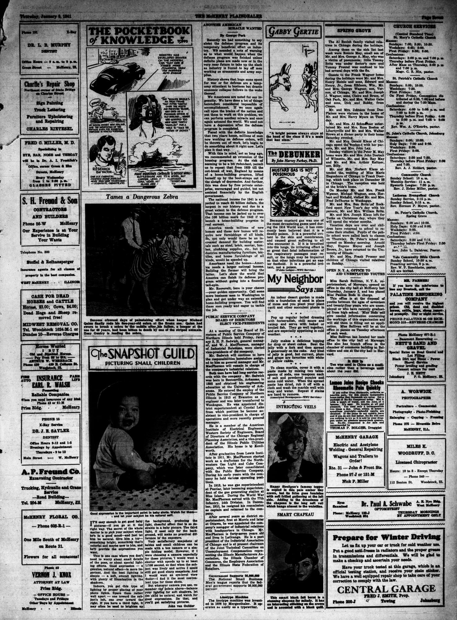 McHenry Plaindealer (McHenry, IL), 9 Jan 1941