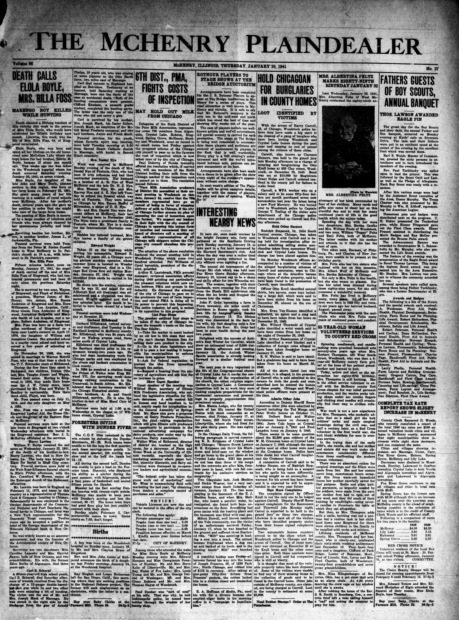 McHenry Plaindealer (McHenry, IL), 30 Jan 1941