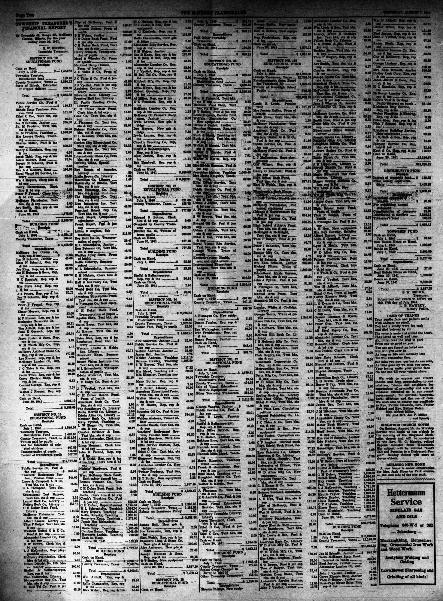 McHenry Plaindealer (McHenry, IL), 7 Aug 1941