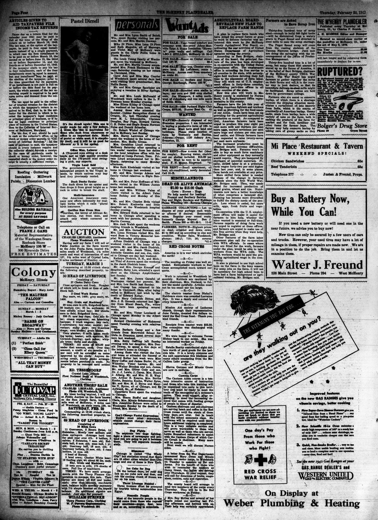 McHenry Plaindealer (McHenry, IL), 26 Feb 1942