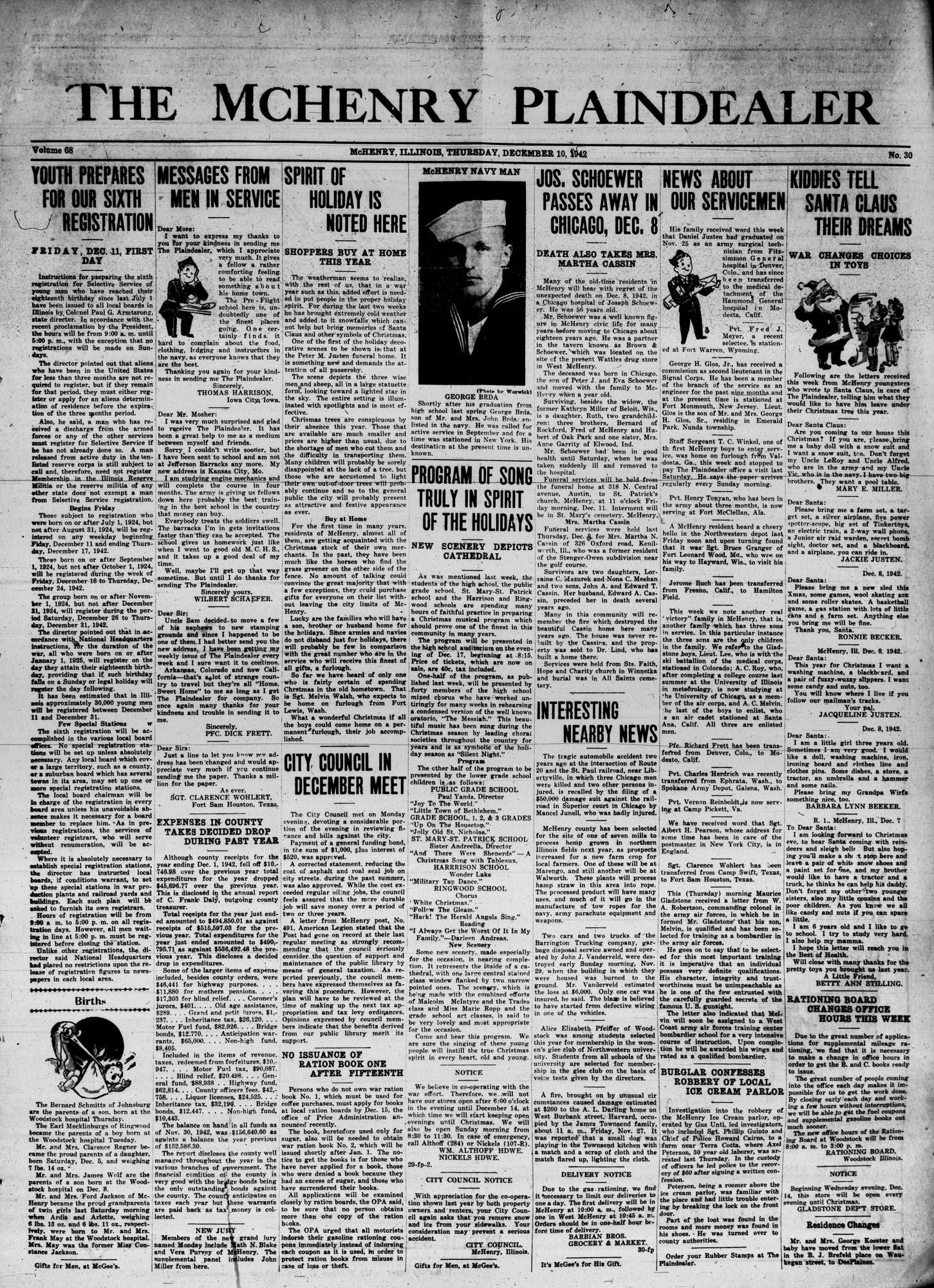 McHenry Plaindealer (McHenry, IL), 10 Dec 1942
