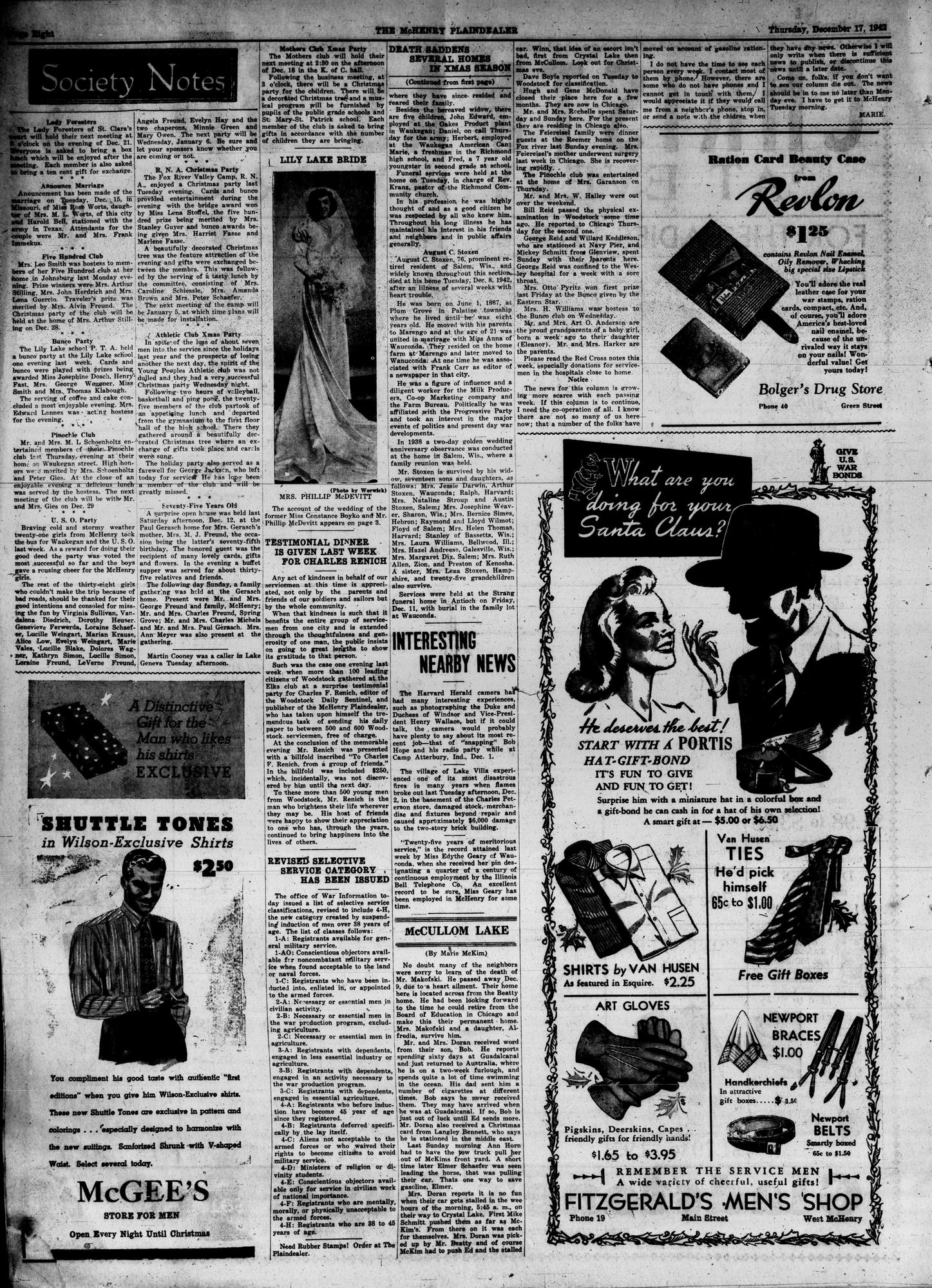 McHenry Plaindealer (McHenry, IL), 17 Dec 1942
