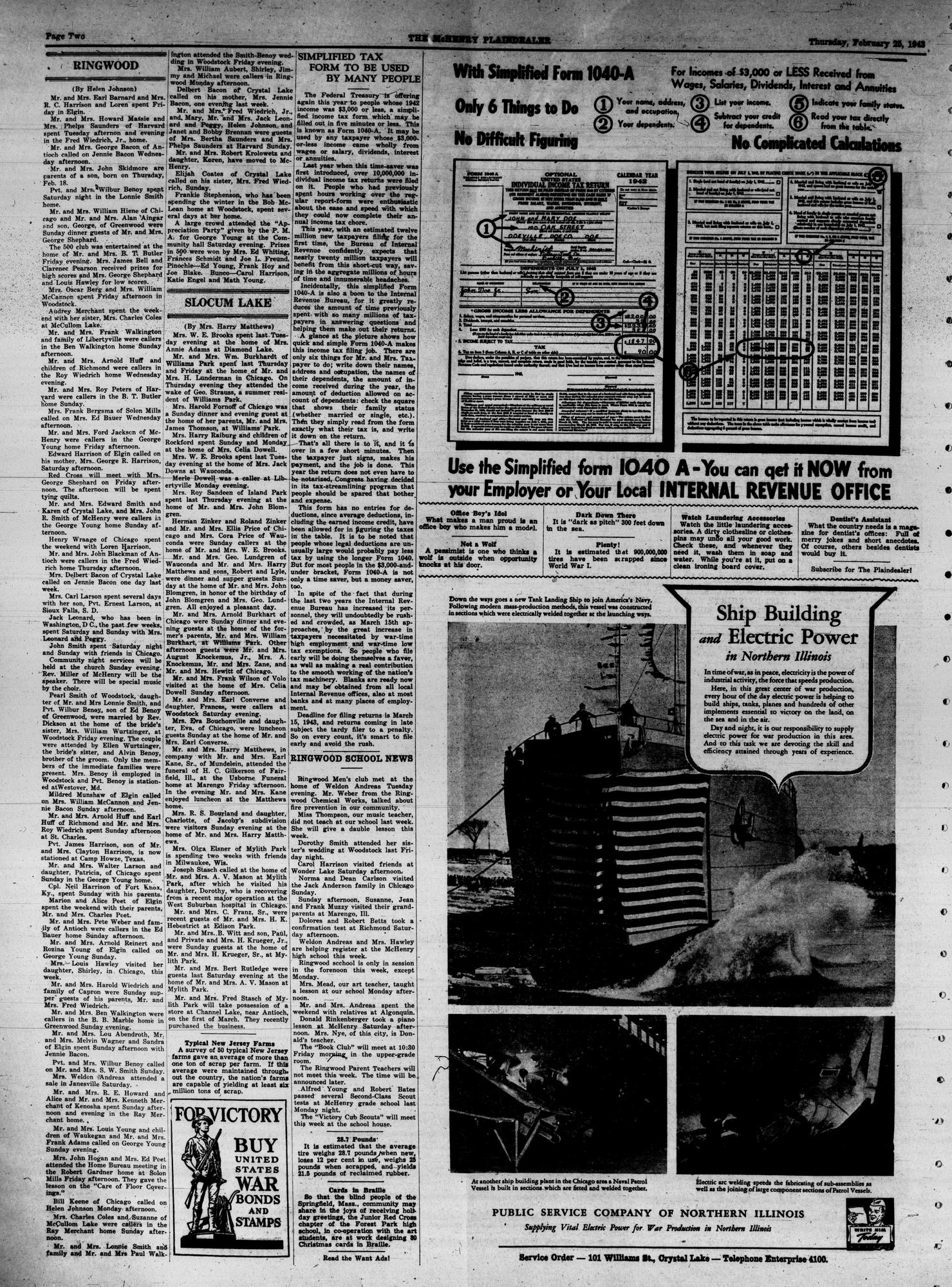 McHenry Plaindealer (McHenry, IL), 25 Feb 1943