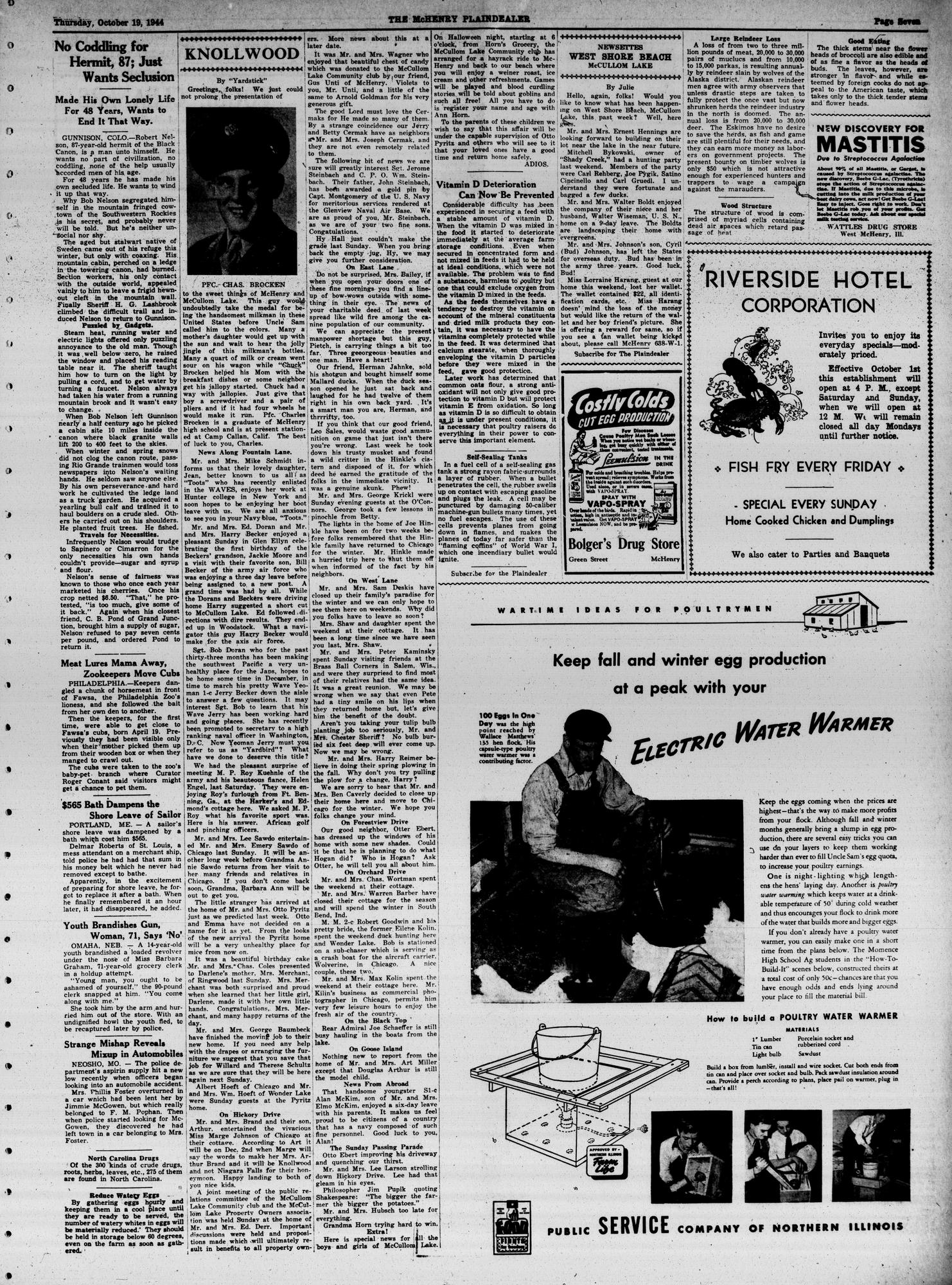McHenry Plaindealer (McHenry, IL), 19 Oct 1944